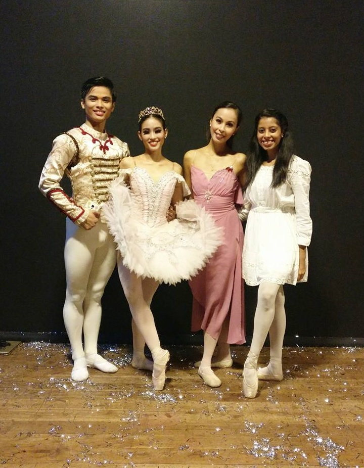 """Rhythmus Happy Feet co-founder Deepika Ravindran (right) with Ballet Manila """"imports"""" Elpidio Magat, Joan Emery Sia and Czarina Villegas shortly after the school's recital featuring    The Nutcracker    in December 2017. Photo from Deepika Ravindran's Facebook page"""