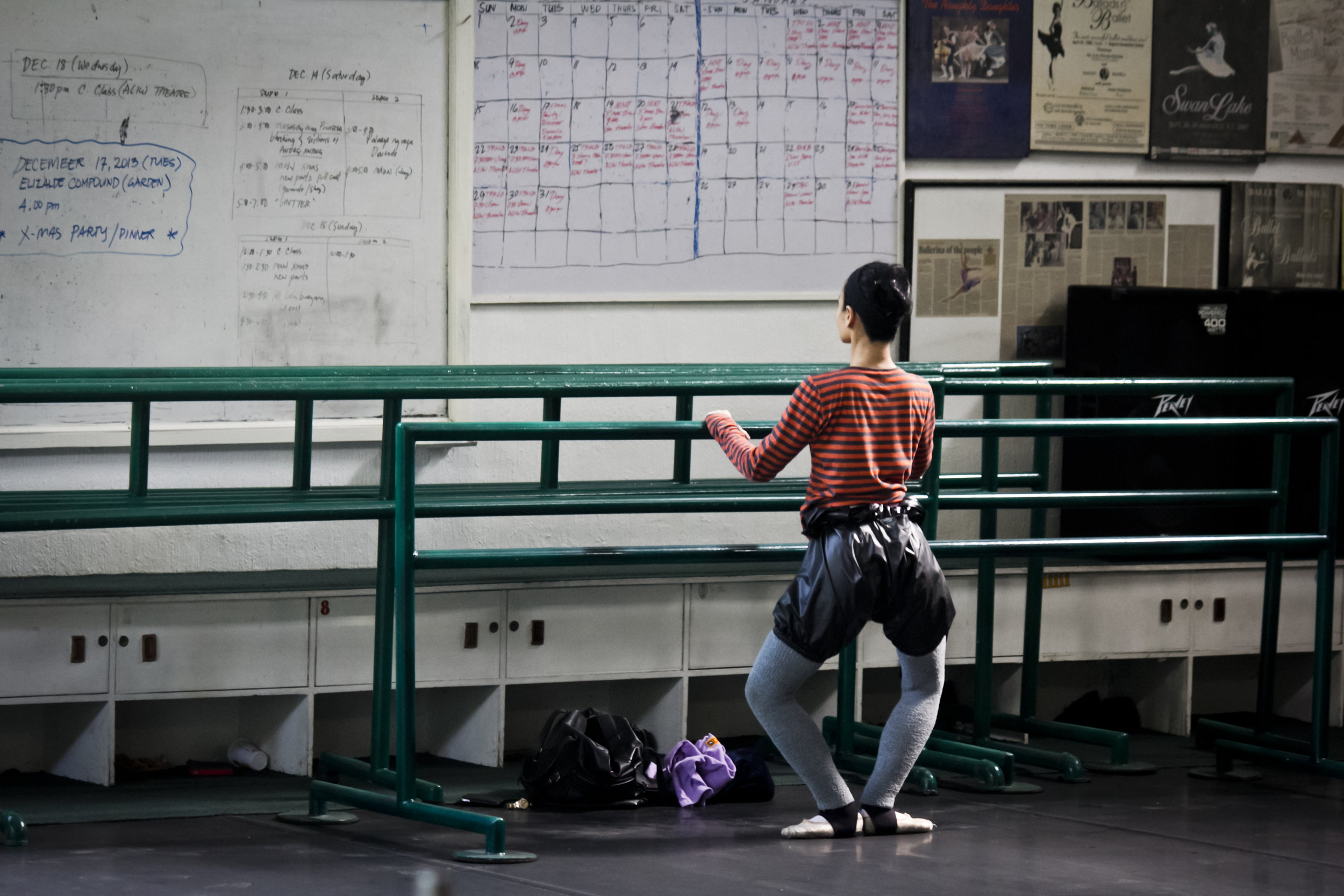 It was the first day of Ballet Manila's Christmas break in 2013 but the disciplined artistic director could be found sweating it out at the barre with her regular routine. Photo by Jimmy Villanueva