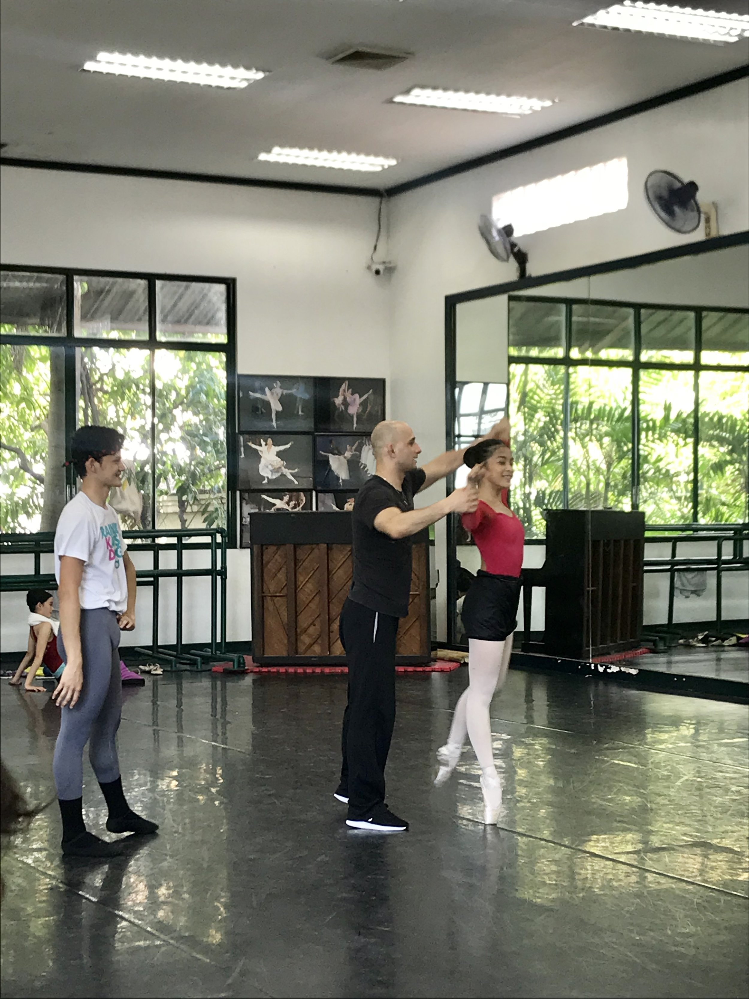 George rehearses with Joshua Enciso and Nicole Barroso, on whom he choreographed the tango-inspired    Bru   , which the pair will dance at the USA International Ballet Competition. Photo by Giselle P. Kasilag