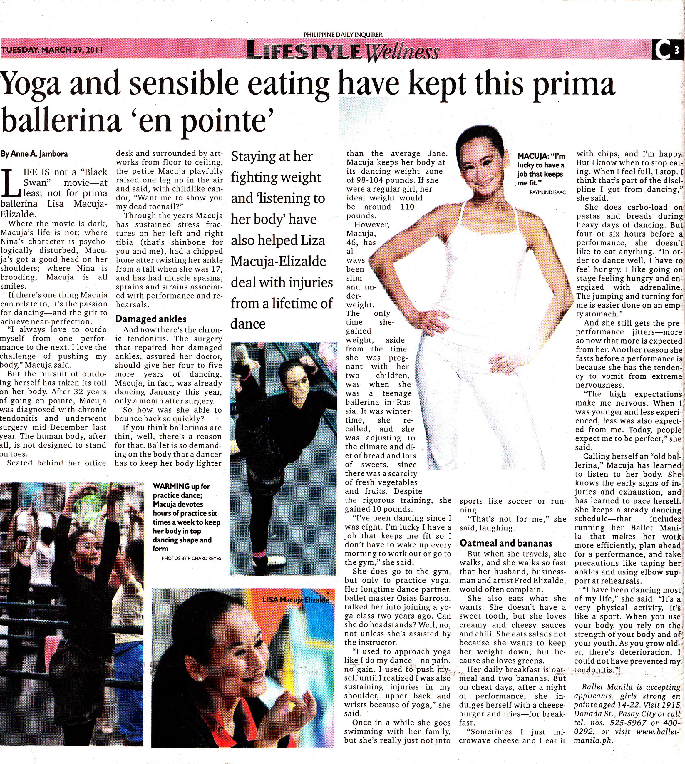 In an article that came out in the    Philippine Daily Inquirer    in 2011, Lisa talked about finding that balance to stay strong, fit, and healthy. Clipping from the Ballet Manila Archives collection