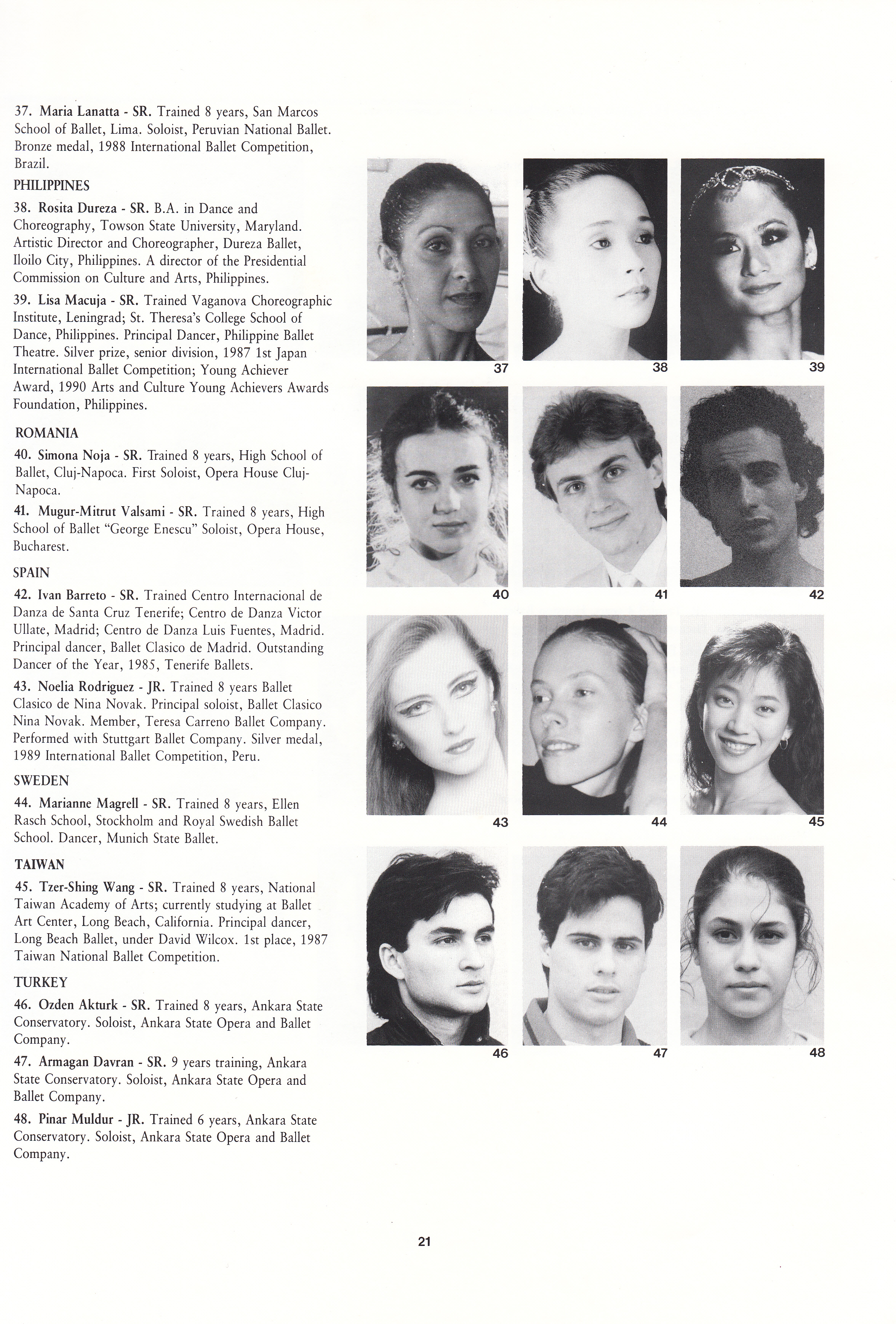 Lisa's photo (top right) appears in the USA IBC souvenir program as one of the accepted competitors. Back then, participants were selected based on their credentials including their background in training, their current affiliation, the roles they have danced and the awards they have won. At the time, Lisa was a principal dancer of Philippine Ballet Theater and was a silver prize honoree at the First Japan Ballet Competition. Nowadays, competitors are screened through video submissions.