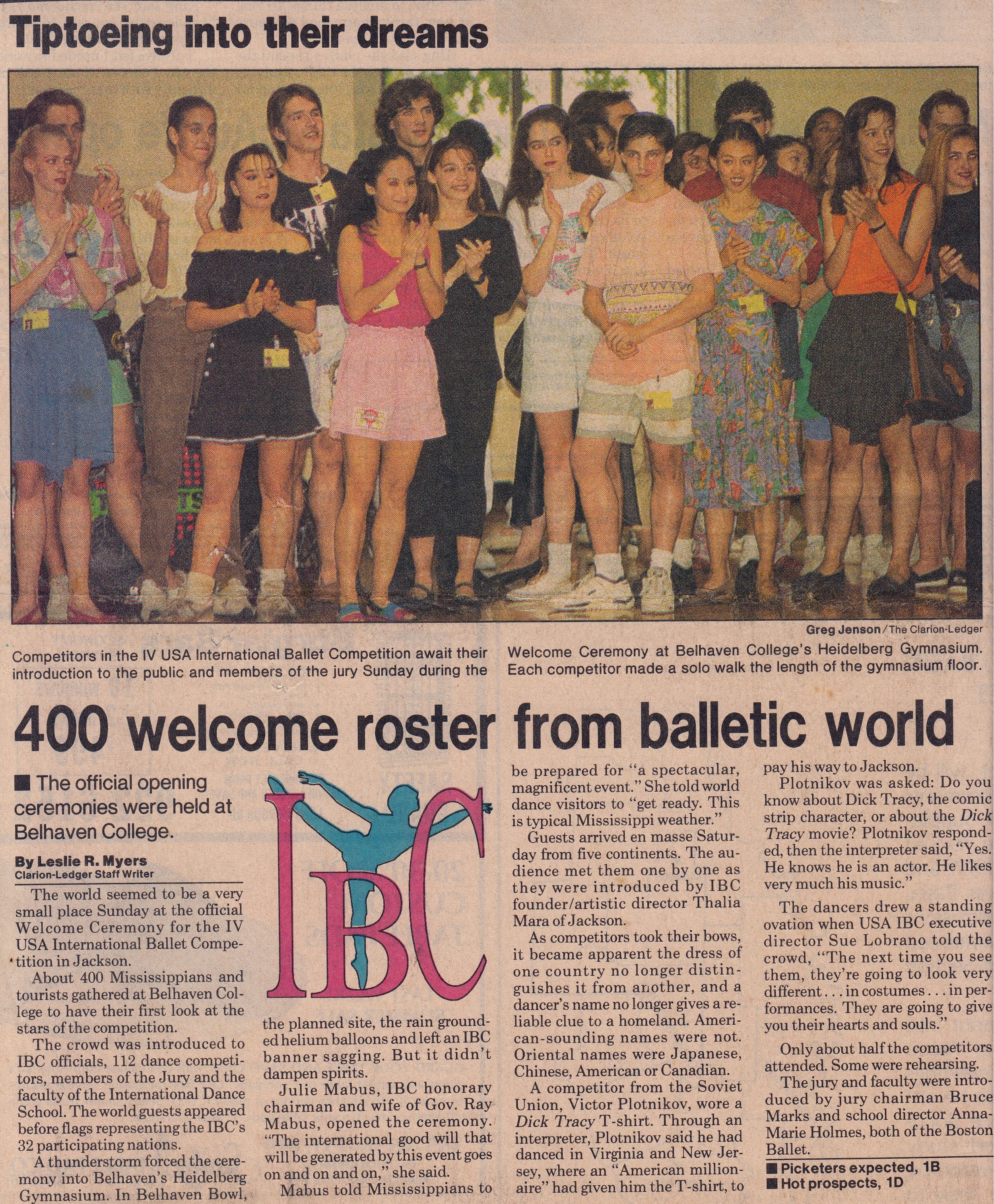 The local newspaper in Jackson,    The Clarion-Ledger   , features a report on the arrival of competing ballerinas and danseurs. The front-page photo shows Lisa (third from left) and fellow participants as they attend the official opening ceremonies at Belhaven College. In 1990, IBC is said to have welcomed 112 competitors from 32 countries.
