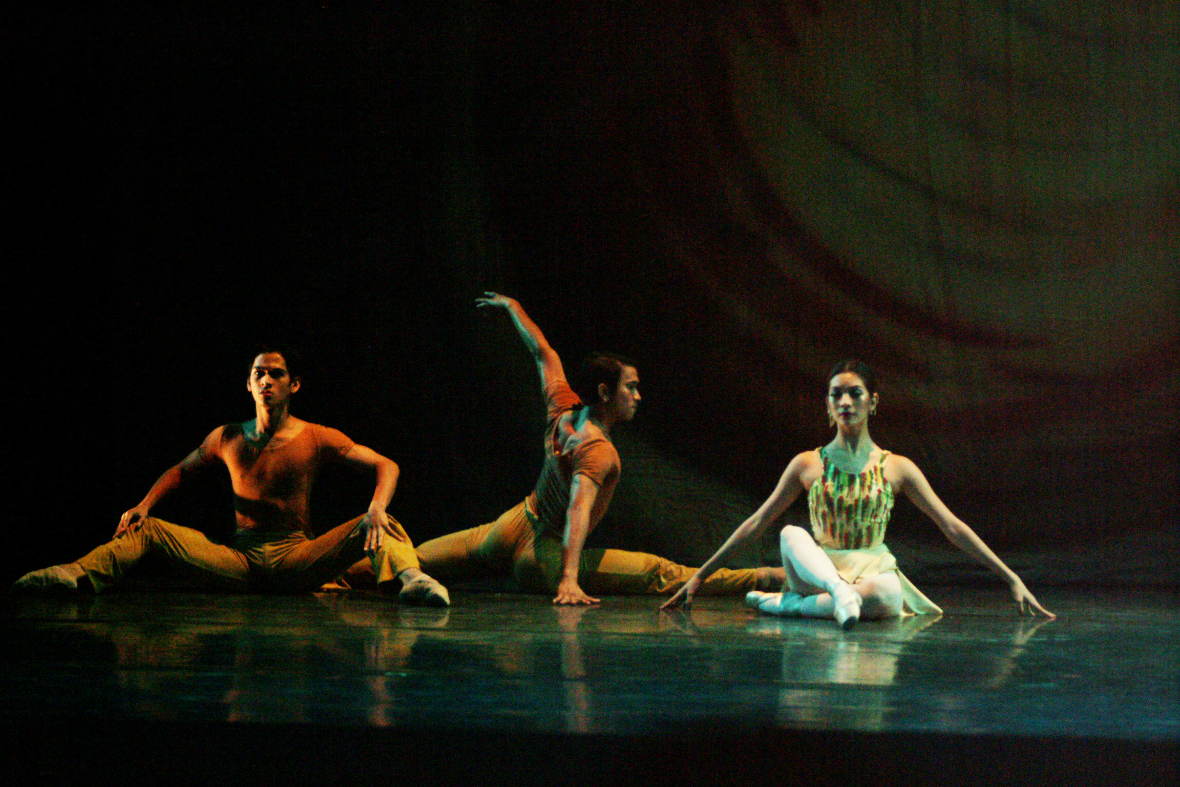 Rudy De Dios, Jerome Espejo and Gabriella Galvez dance the Gershwin-inspired choreography in 2005. Photo from the Ballet Manila Archives collection