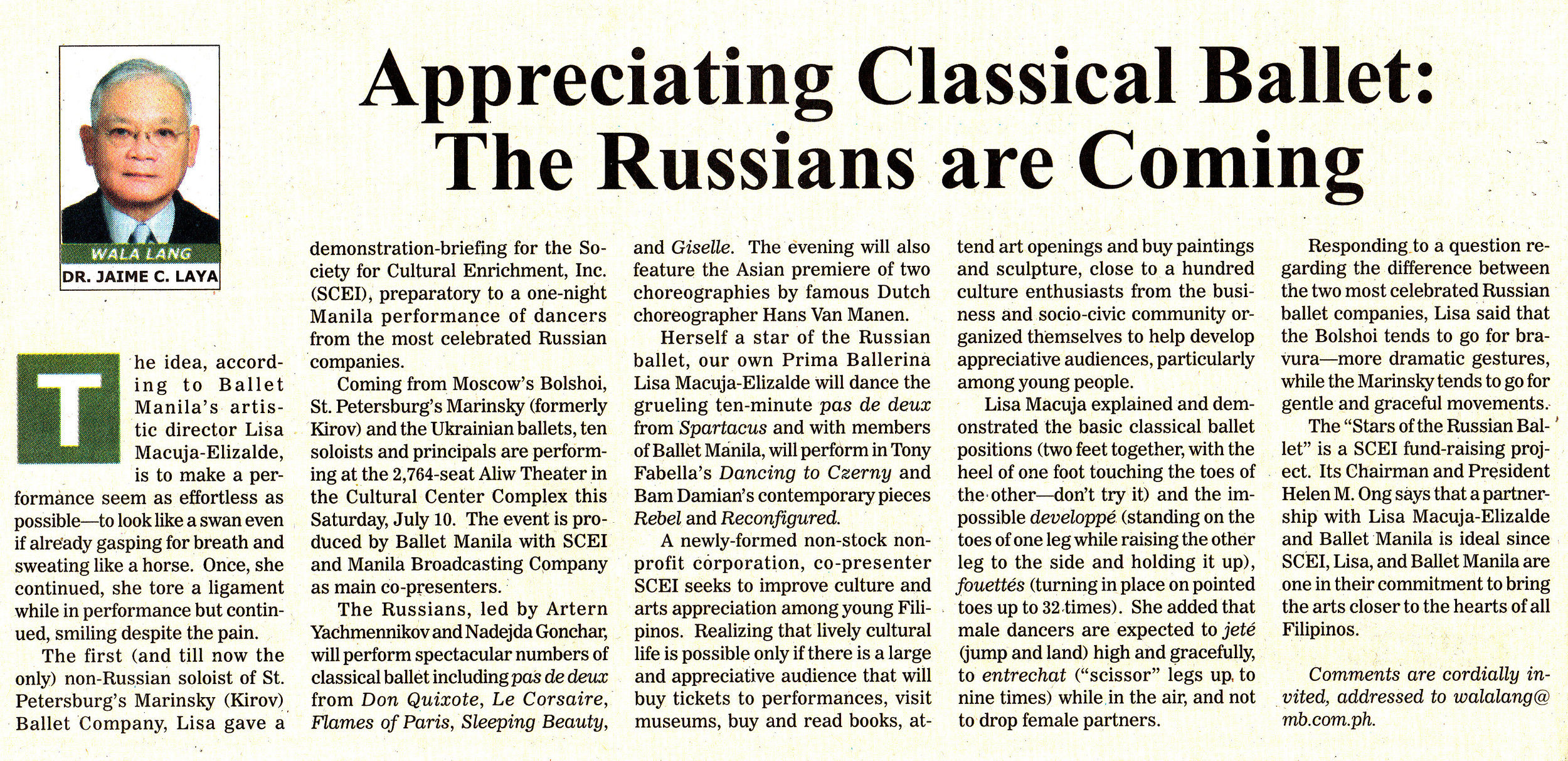 Jaime Laya writes about his group, the newly formed Society for Cultural Enrichment, co-presenting    Today's Stars of the Russian Ballet    in his column in Manila Bulletin. Clipping from the Ballet Manila Archives collection