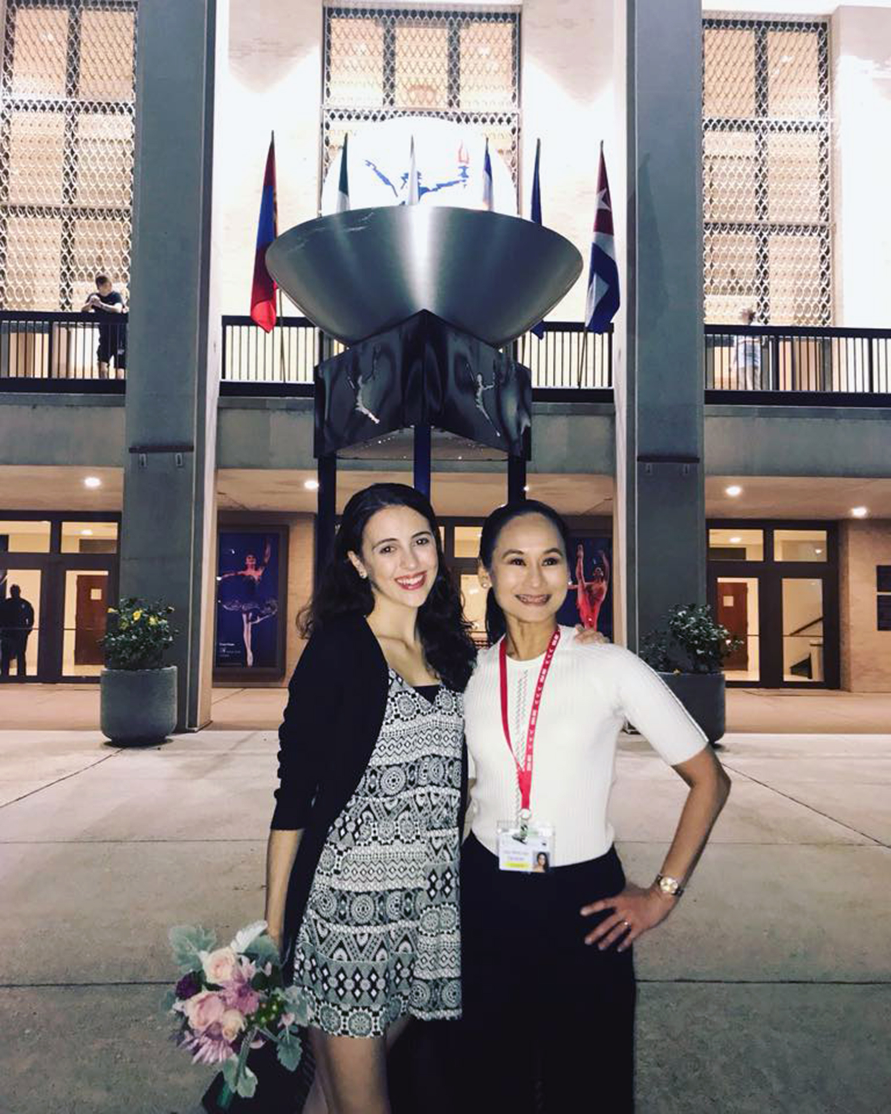 Celebrating with her coach, Ballet Manila artistic director Lisa Macuja-Elizalde, last June after she made it to the final round in the USA International Ballet Competition in Jackson, Mississippi