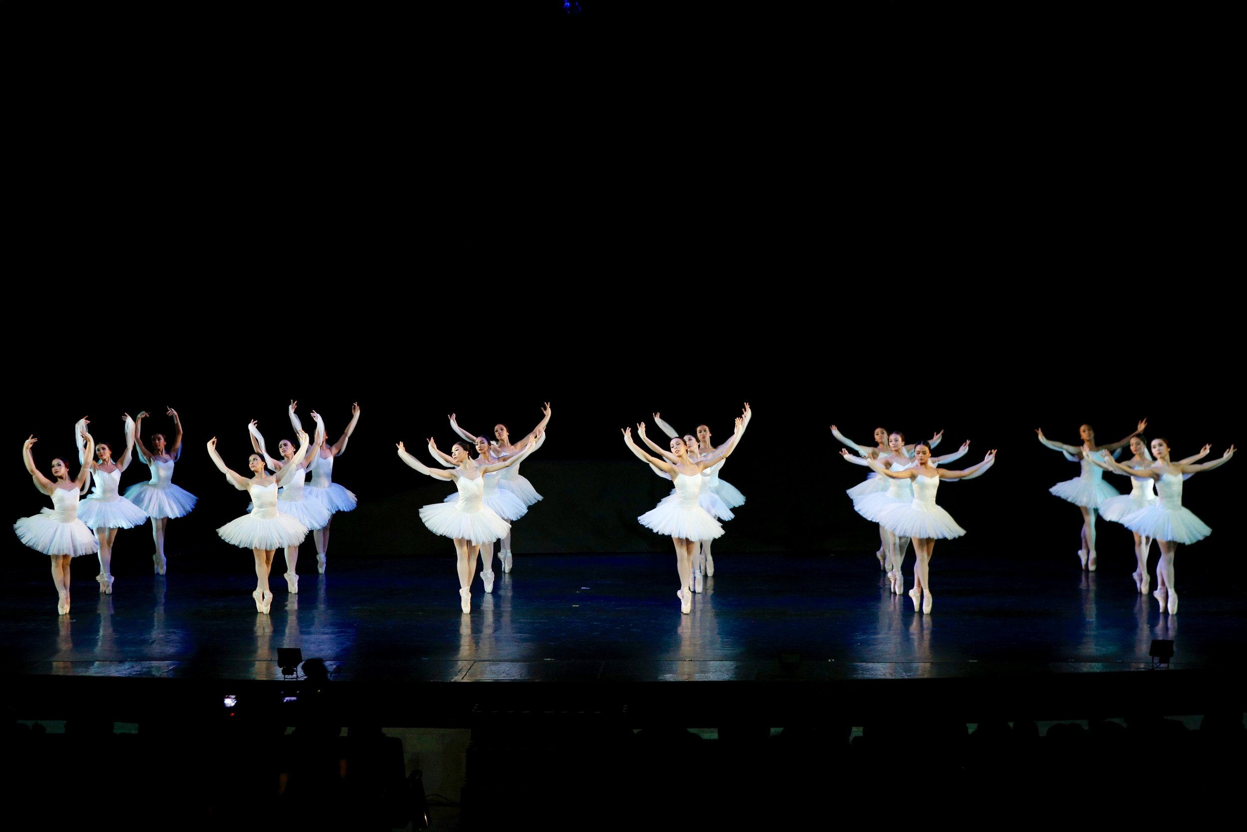 Classical pieces, in particular, require a tremendous amount of harmony in movement especially among the corps. In Ballet Manila's performance of the Kingdom of the Shades from    La Bayadere   , the female corps delivers a very precise yet nuanced rendition of this choreography, moving as a single unit to create this ethereal and haunting scene. Photo by Kurt Alvarez from the Ballet Manila Archives collection