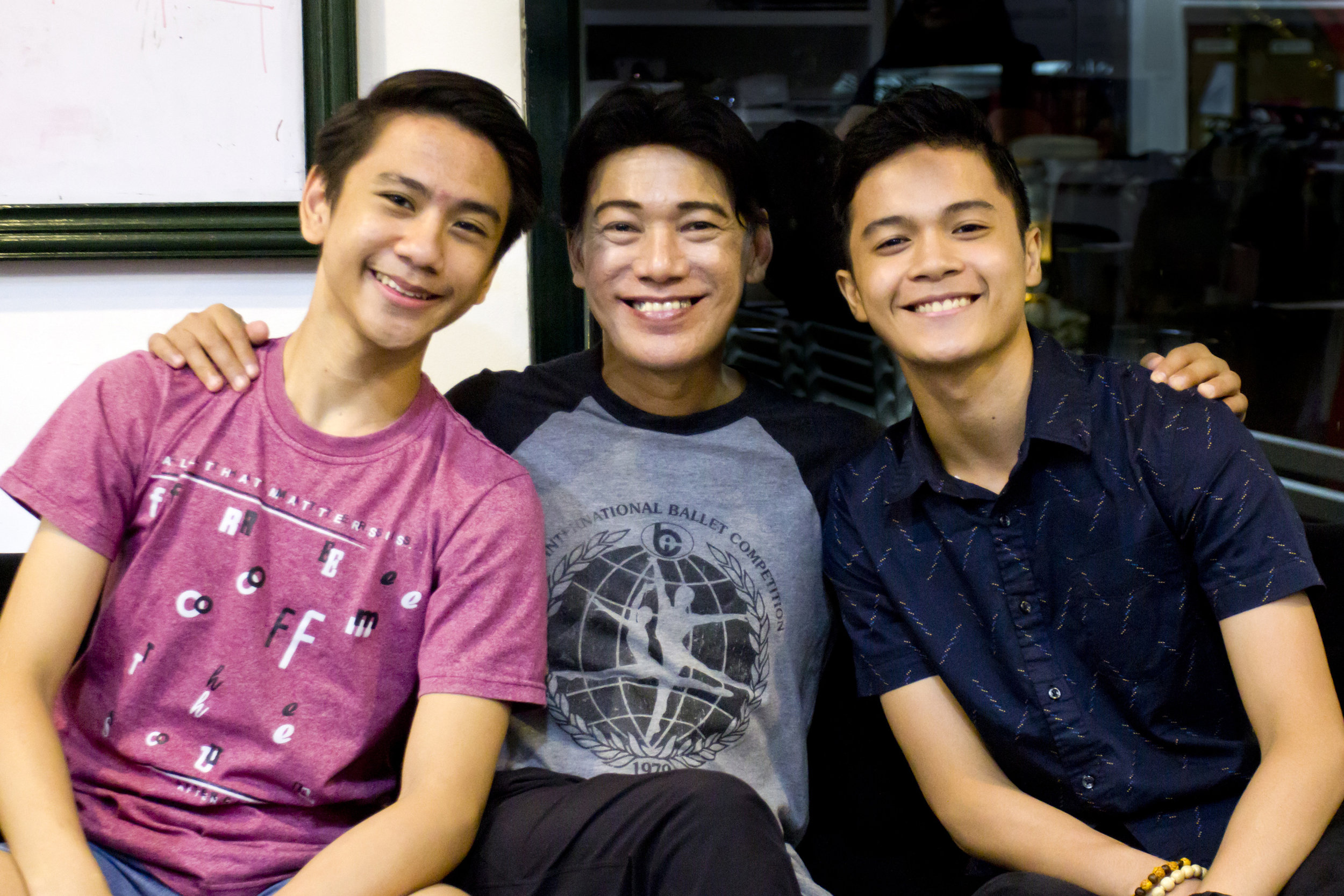 Ballet Manila co-artistic director Osias Barroso (center) says that Asian Grand Prix 2018 medalists Brian Sevilla (left) and Rafael Perez represent the future of the company and advises them to keep working hard to ensure a long dancing career. Photo by Jimmy Villanueva
