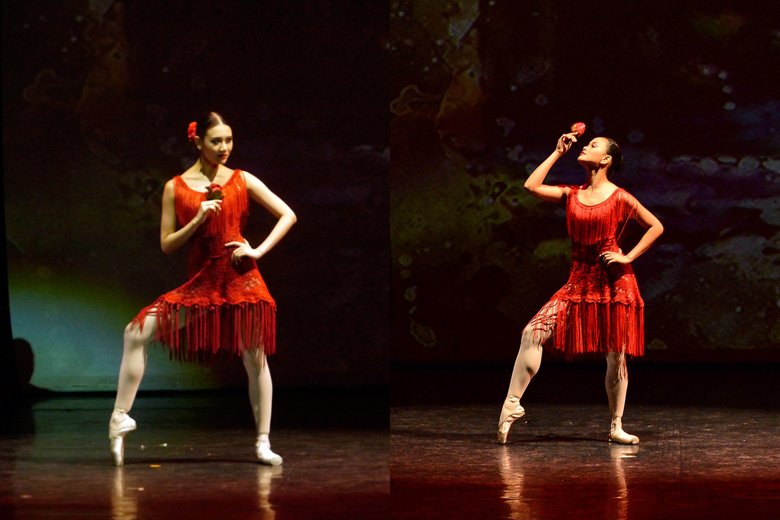 For Ballet Manila principal dancer Abigail Oliveiro and company artist Rissa May Camaclang, portraying the sultry seductress that is Carmen was a dream fulfilled. Left photo by Giselle P. Kasilag; right photo by MarBi Photography