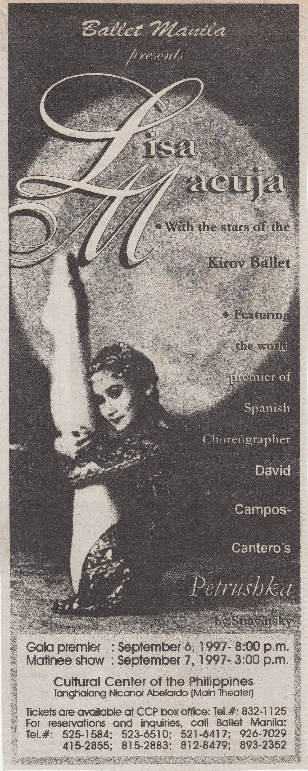 A newspaper advertisement for Ballet Manila's two-night show at the Cultural Center of the Philippines. Clipping from the Ballet Manila Archives collection