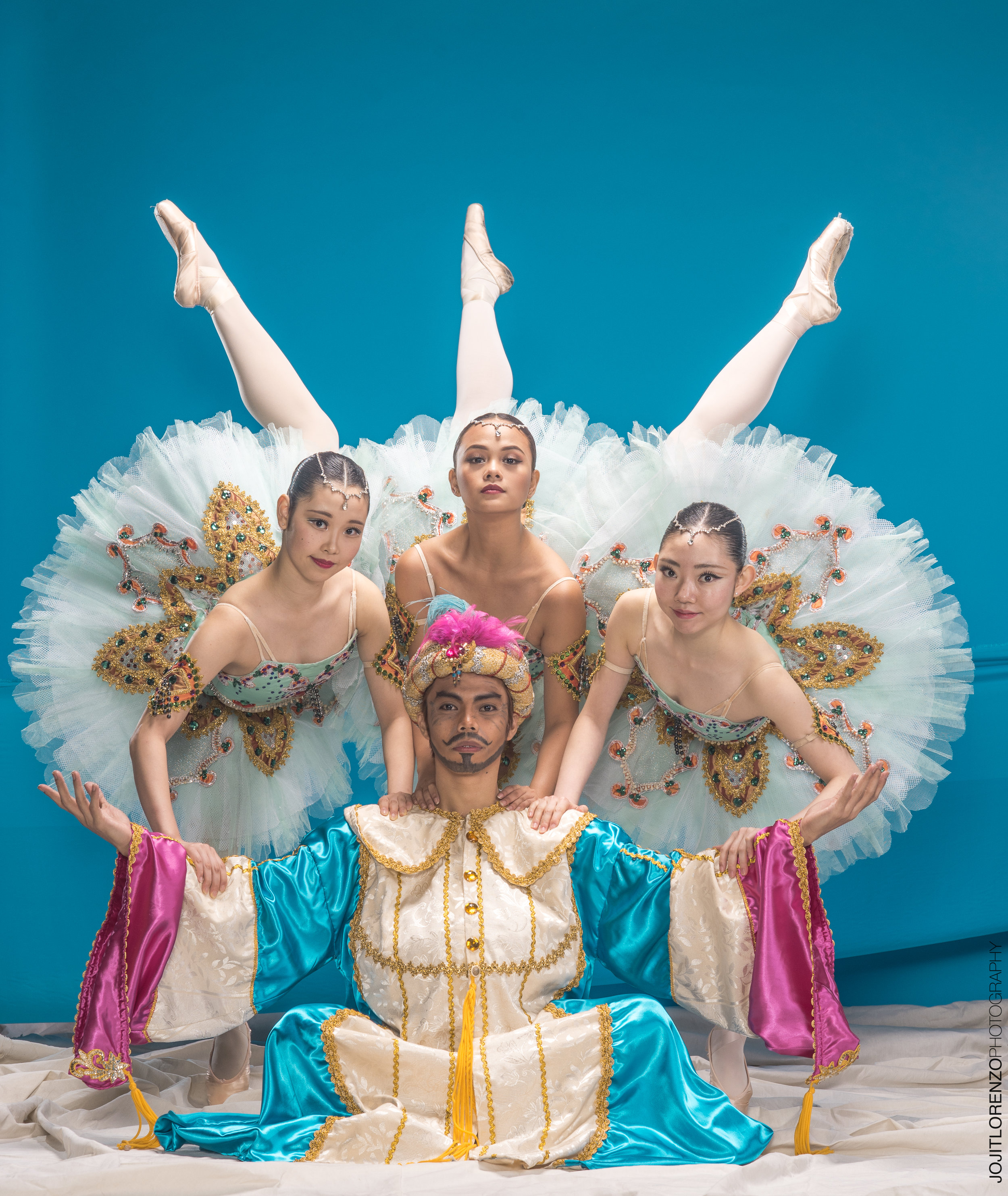 John Ralp Balagot as Pasha, with the Odalisques (from left) Akari Ida, Rissa May Camaclang and Kotomi Narai. Photo by Jojit Lorenzo