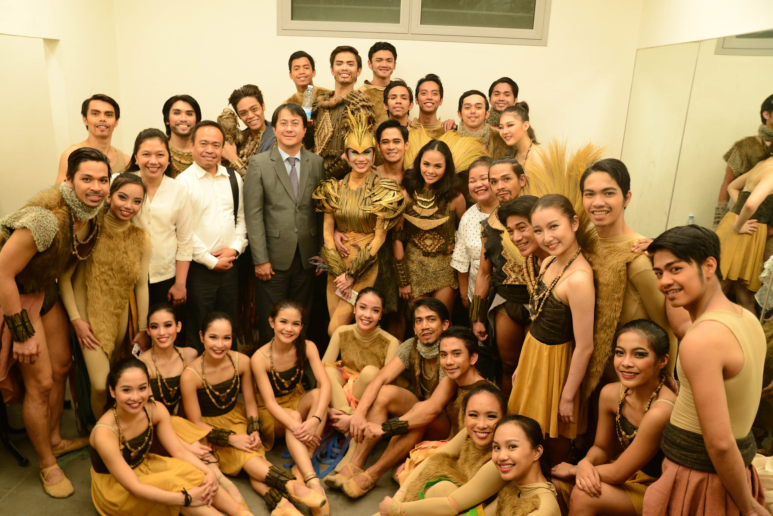 Philippine Ambassador to Israel Neal Imperial (in suit) goes backstage to congratulate Ballet Manila after the company's successful performance at the Karmiel Hall of Culture. Photo by Mark Sumaylo