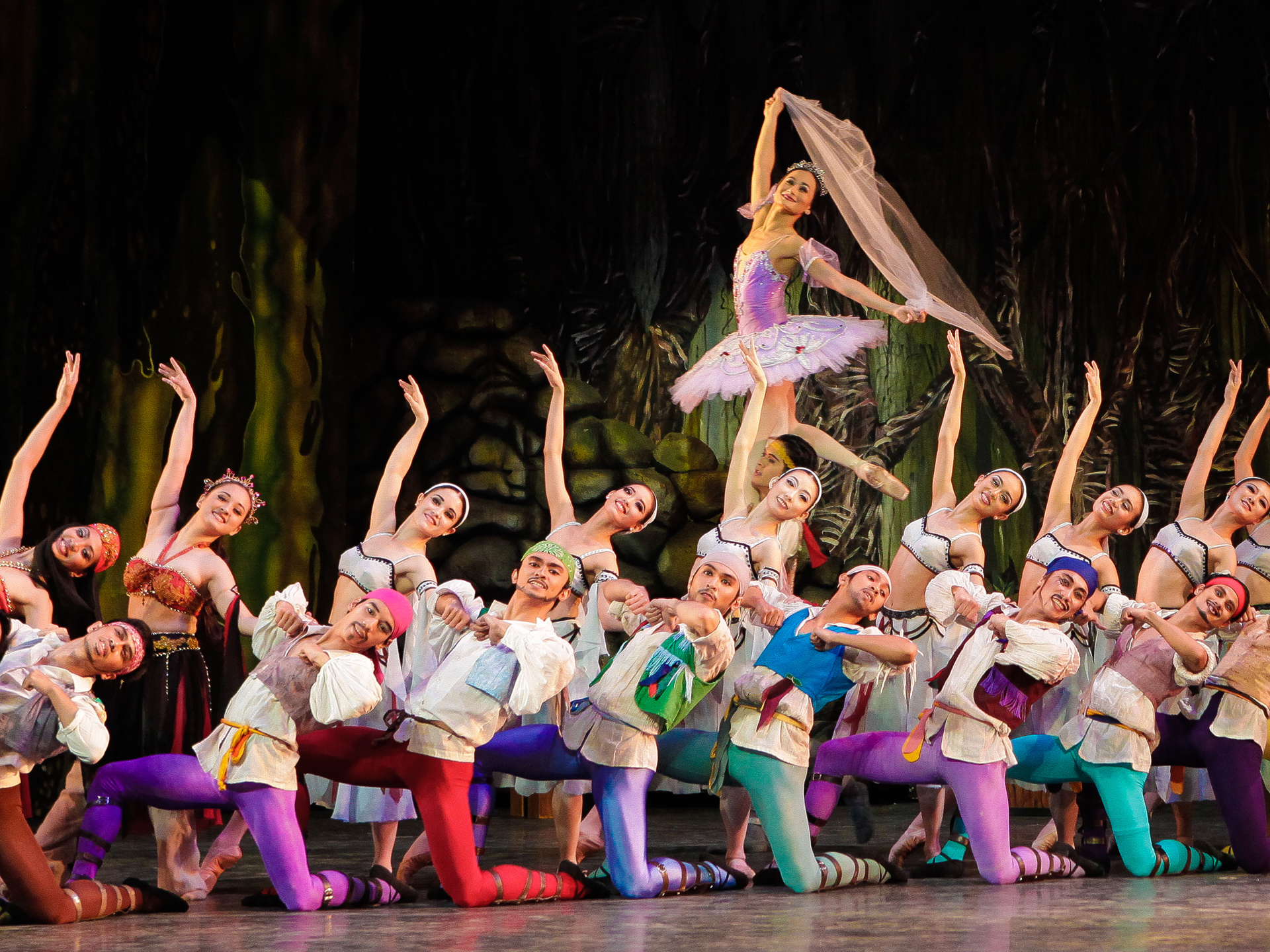 In 2013, Romeo (front, fourth from left) was one of the pirates in the production that marked prima ballerina      Lisa Macuja-Elizalde     's final portrayal as Medora as part of her  Swan Song Series . Photo by Jojo Mamangun