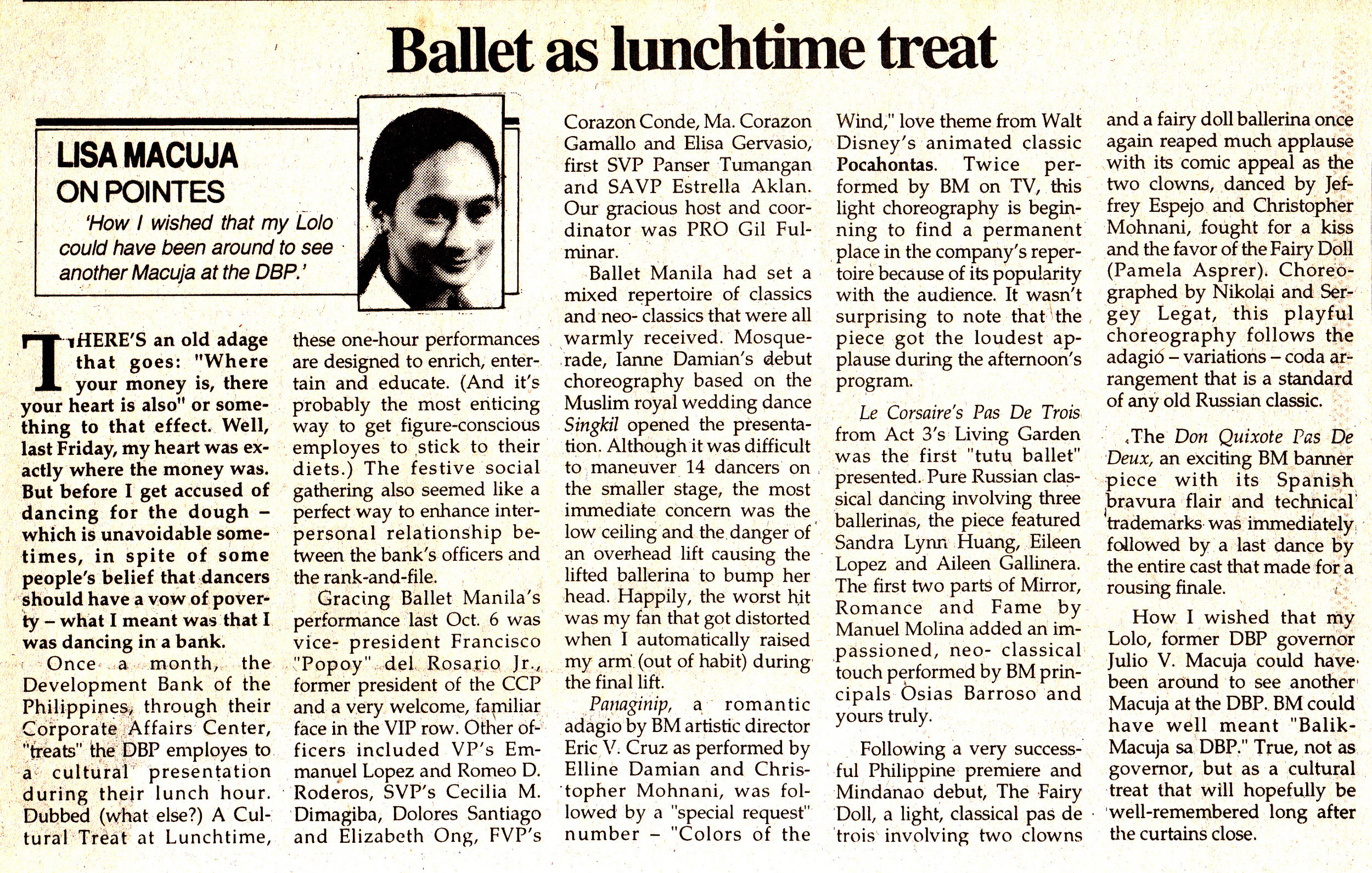 Lisa Macuja writes about Ballet Manila's performance for a lunch-time crowd in her column for  Malaya . From the Ballet Manila Archives collection