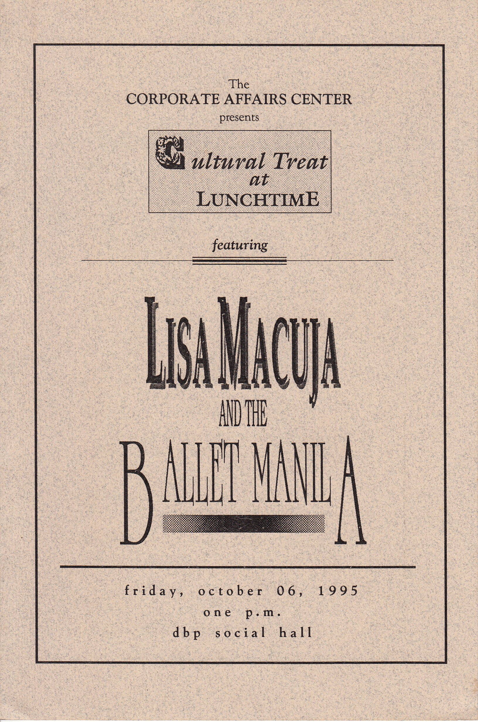 Cover of the souvenir program for the Development Bank of the Philippines' monthly social gathering with Ballet Manila as guest. From the Ballet Manila Archives collection