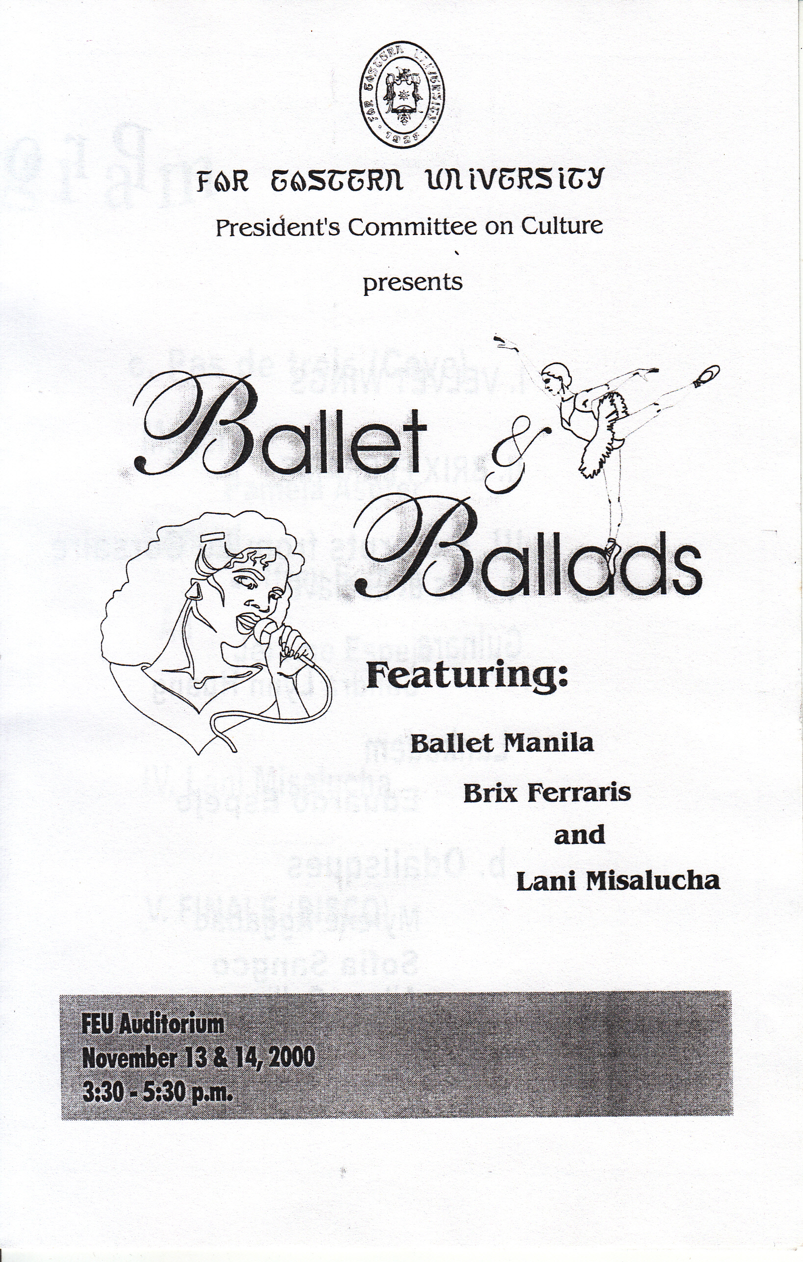 The campus tour included two shows at the Far Eastern University, as indicated in this souvenir program. From the Ballet Manila Archives collection