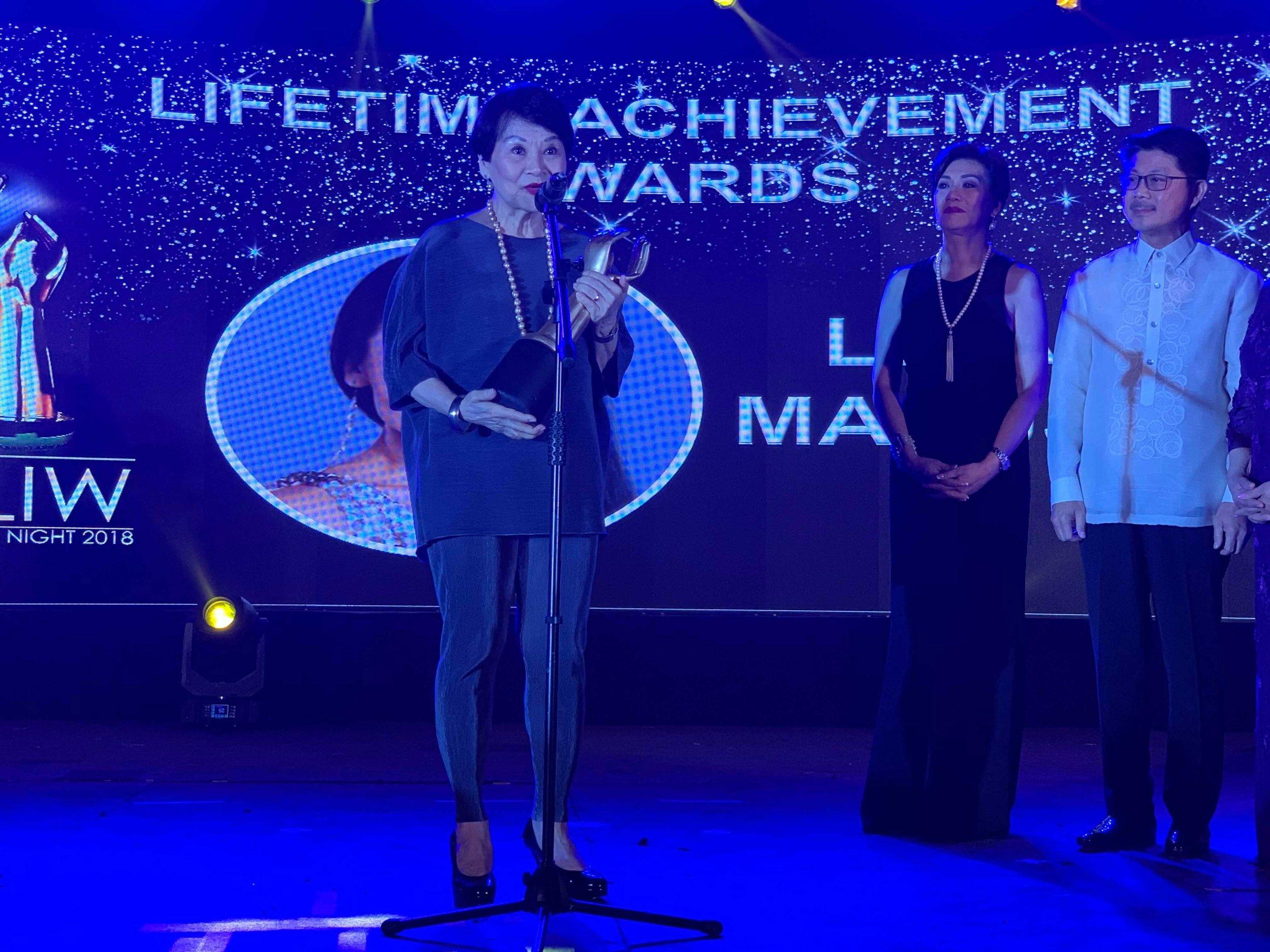 Ballet Manila treasurer Susan Macuja receives daughter Lisa Macuja-Elizalde's Lifetime Achievement Award. Photo by Mark Sumaylo