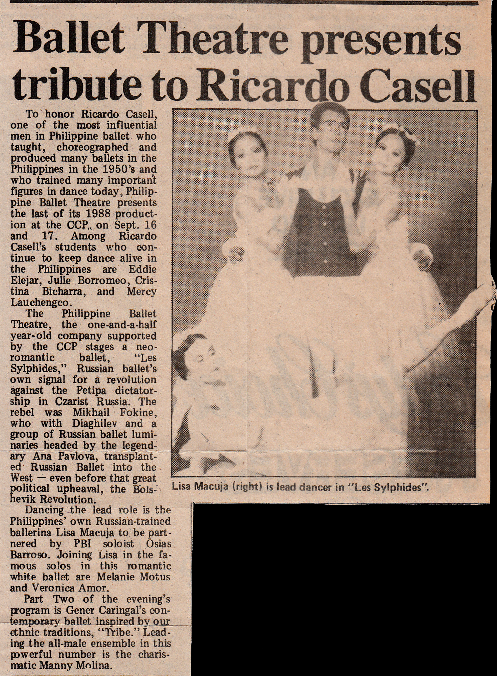 A newspaper clipping from 1988 features a photo of the lead stars in Philippine Ballet Theatre's L es Sylphides : (clockwise from top left) Veronica Amor, Osias Barroso, Lisa Macuja and Melanie Motus. Photo from the Ballet Manila Archives collection