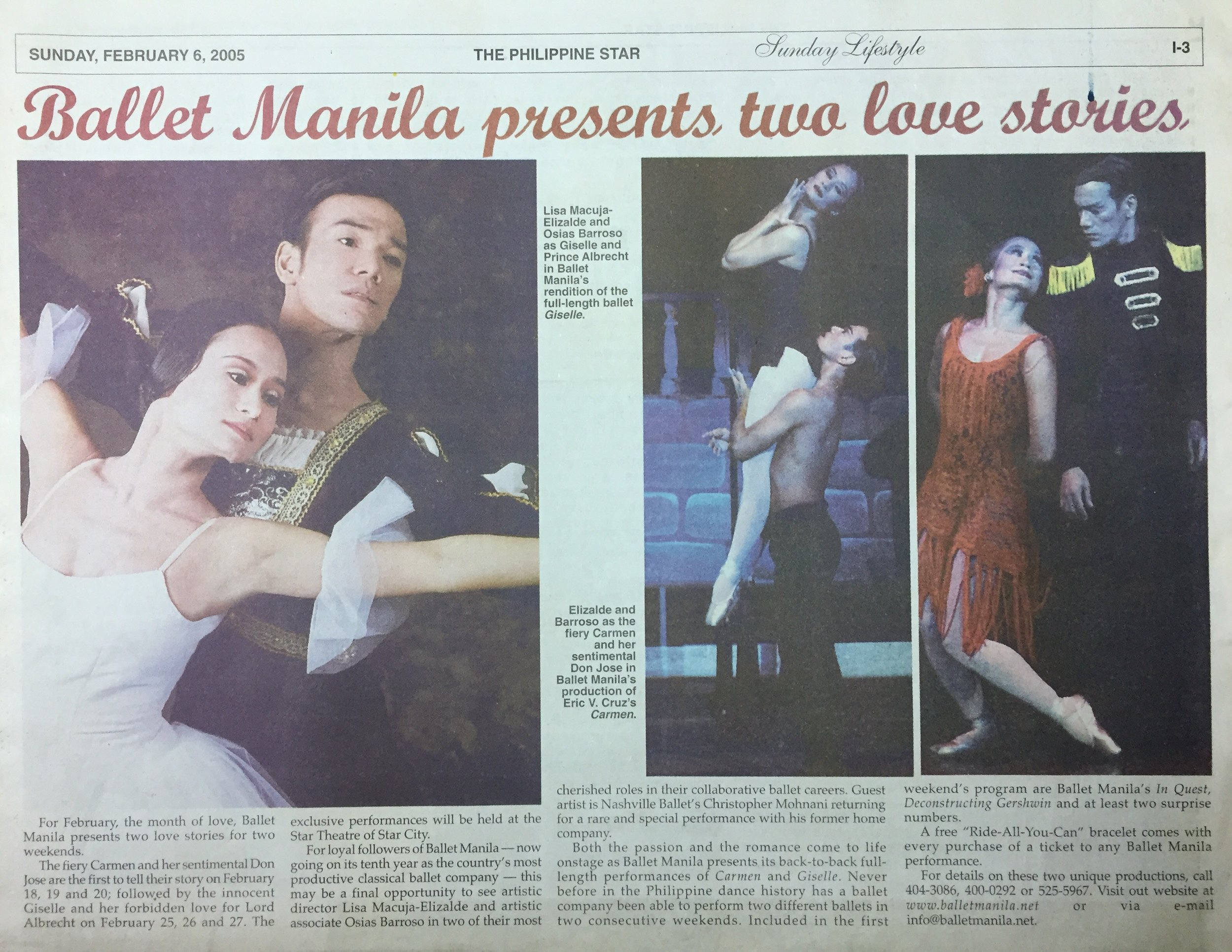 A news item shares the iconic ballet classics that BM principal dancers Lisa Macuja-Elizalde and Osias Barroso were bringing to life. From the Ballet Manila Archives collection