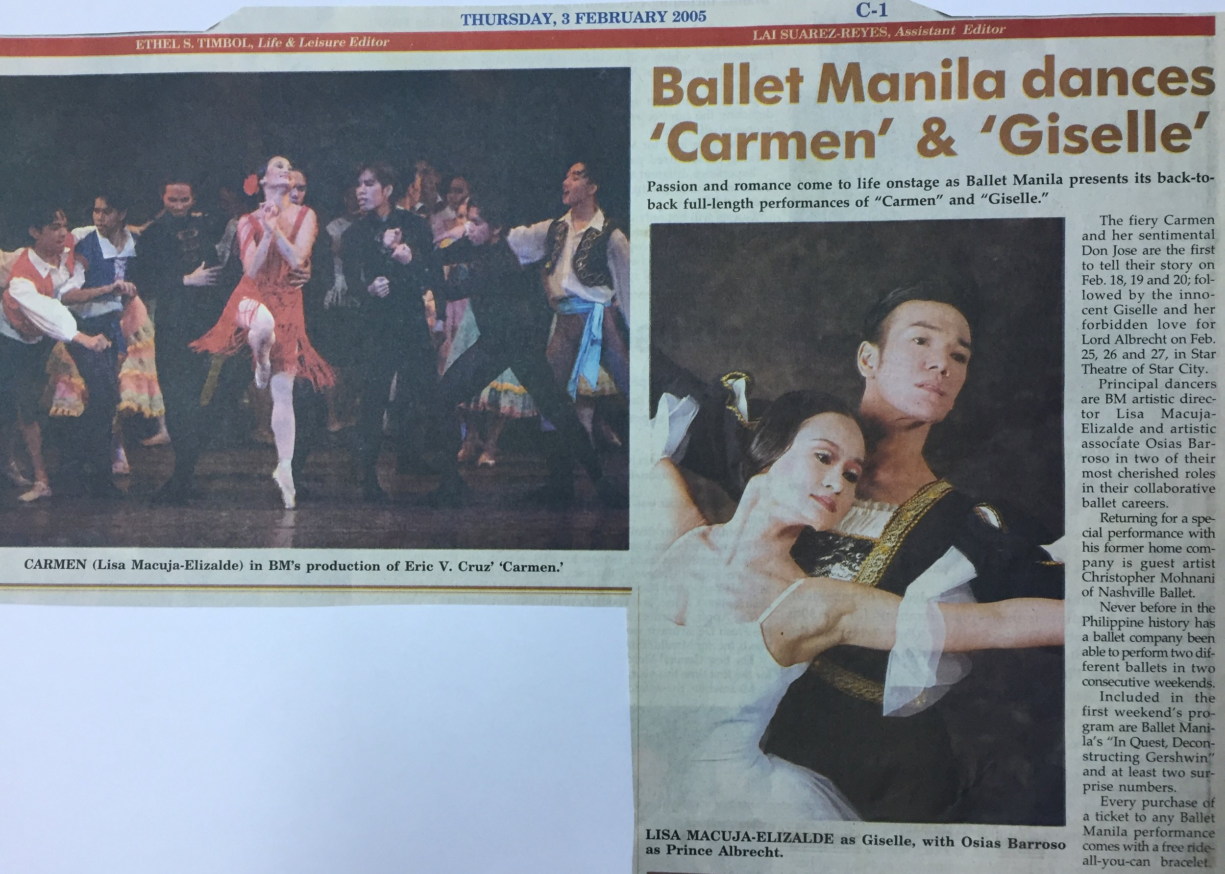 Another announcement of Ballet Manila's back-to-back productions celebrating Valentine month. From the Ballet Manila Archives collection