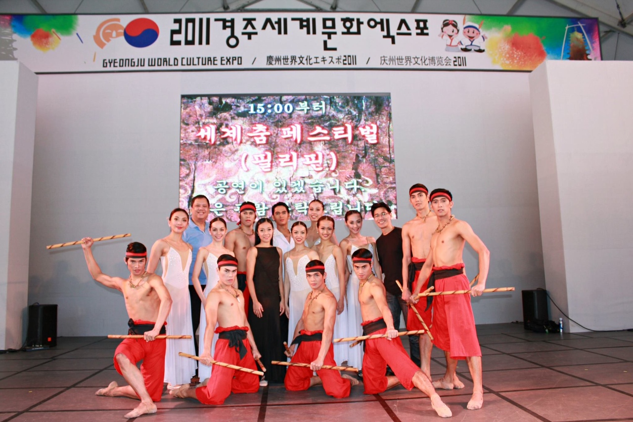 Shaz (standing, third from left) leads the Ballet Manila delegation to the Gyeongju World Culture Expo in South Korea in 2011.