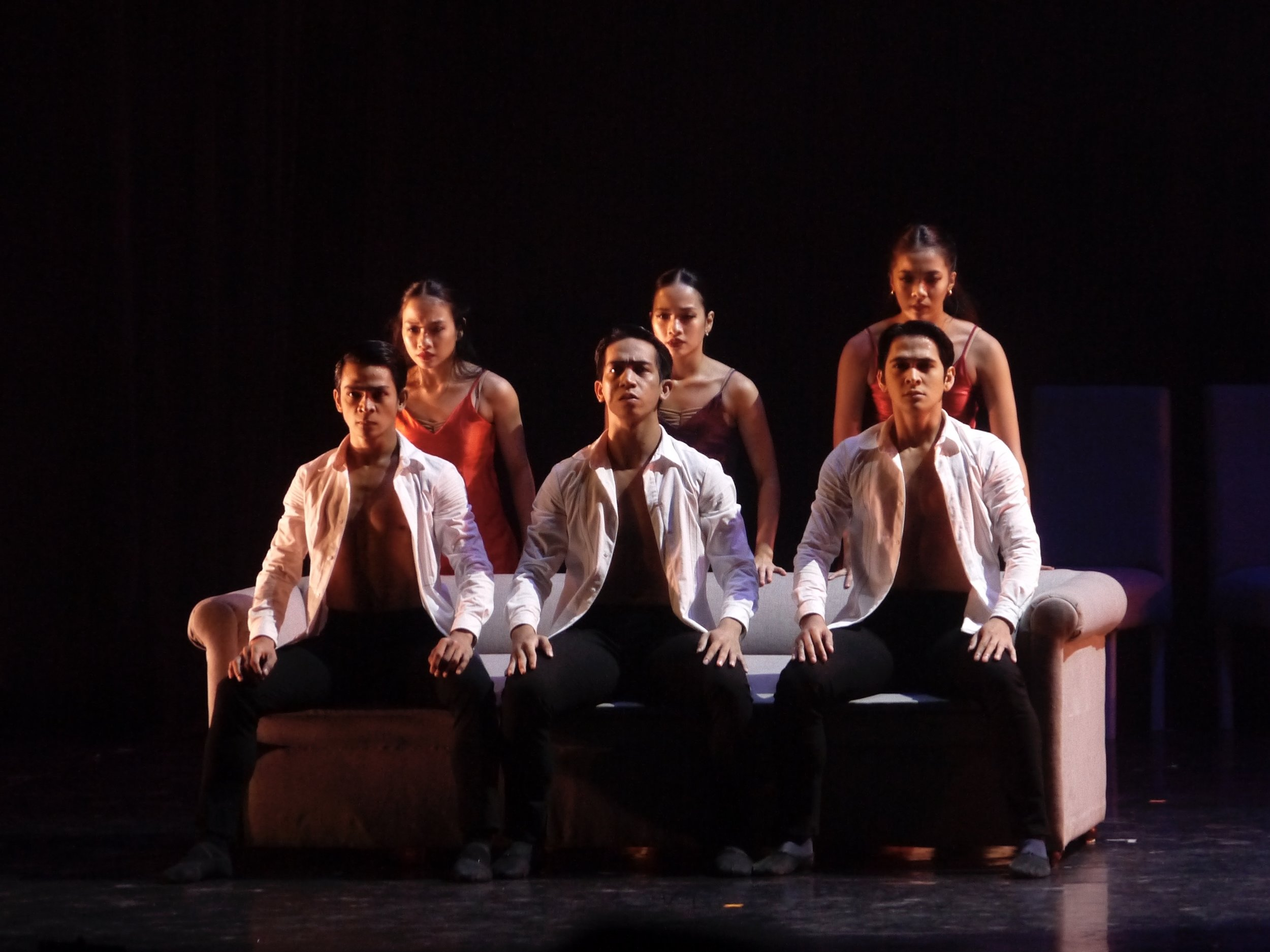 Pearl (standing, center) performs in another Martin Lawrance choreography, the opera-powered  Aria . Photo by Giselle P. Kasilag