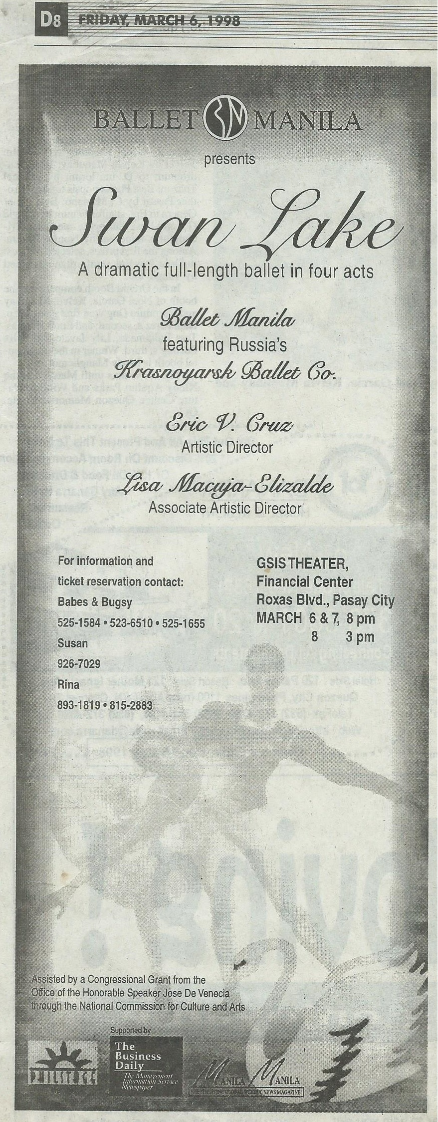 Advertisement of Ballet Manila's  Swan Lake  shows Ballet Manila sharing top billing with Russia's Krasnoyarsk Ballet. From the Ballet Manila Archives collection