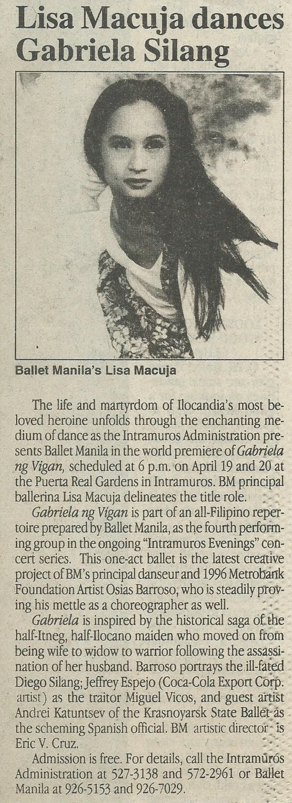 Another newspaper clipping shares details about the show which was open and free to the public. From the Ballet Manila Archives collection