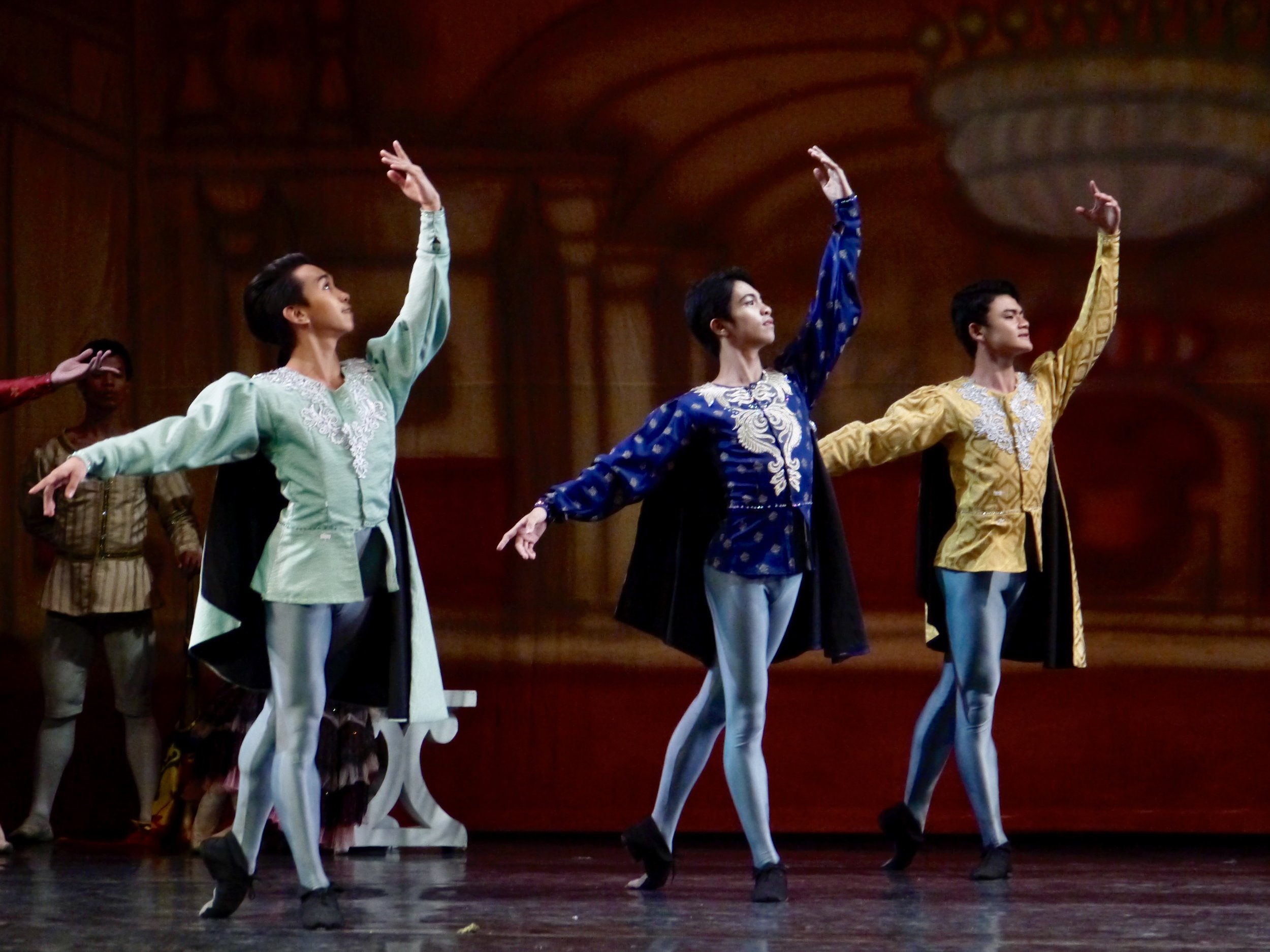 For Emmerson (leftmost, with Alvin Dictado and Joshua Enciso in  Swan Lake ), each dancer's role is important even if one is just part of the corps. Photo by Giselle P. Kasilag