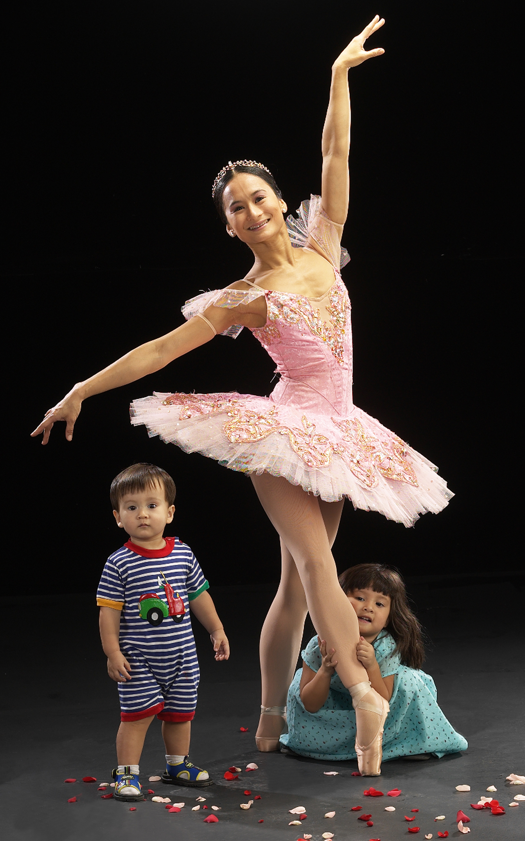 As toddlers, Missy and Mac end up stumbling into their mom's pictorial for  The Nutcracker.  Photo by G-nie Arambulo