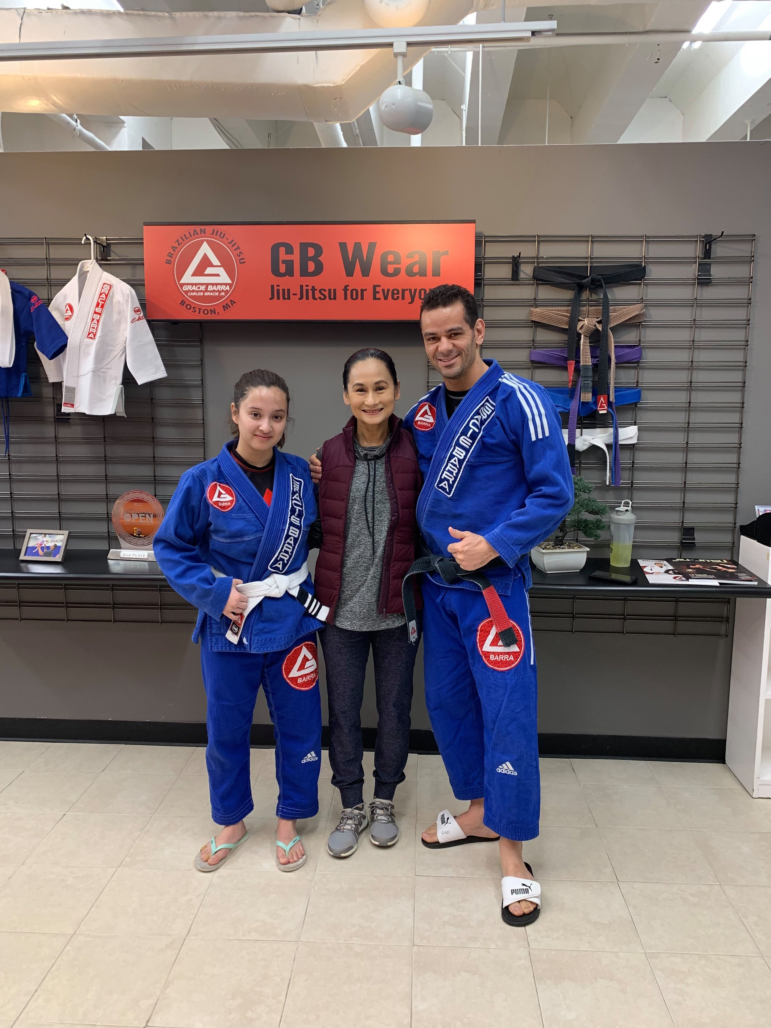 It was both a happy and surreal moment for Missy when two of her most important mentors – her mom Lisa, for ballet, and Guilherme Verissimo Pereira, for jiu jitsu – got to meet in Boston. Photo courtesy of Missy Macuja-Elizalde
