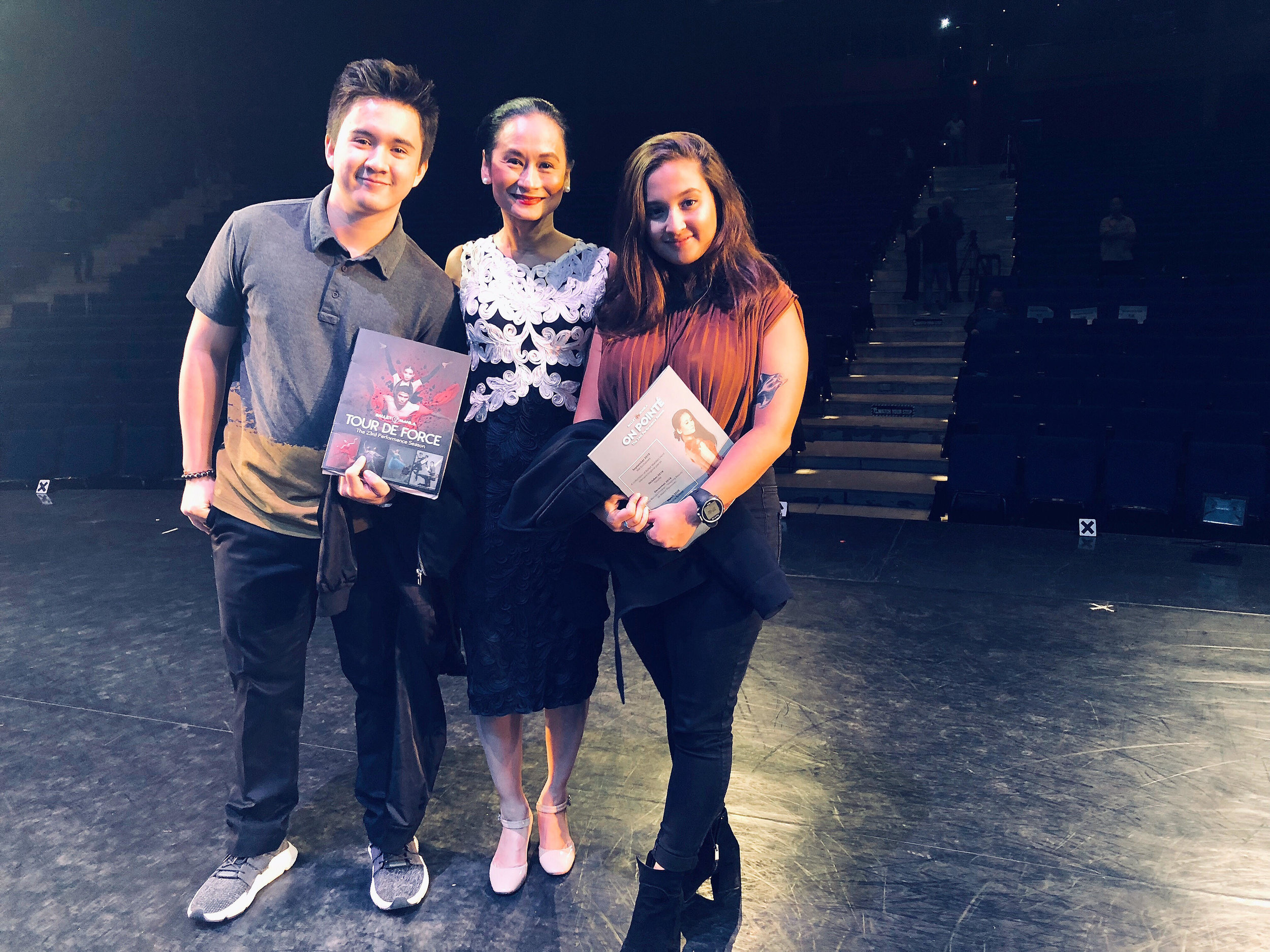 Missy returns to familiar turf – the stage of the Aliw Theater – where she poses with her mom Lisa and brother Mac after watching one of the shows featured in Ballet Manila's 23rd performance season. Photo courtesy of Missy Macuja-Elizalde
