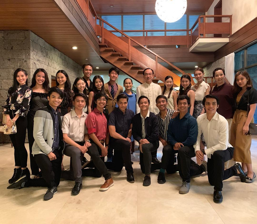 Ambassador of Japan to the Philippines Koji Haneda (standing, sixth from right) welcomes Ballet Manila – led by artistic director Lisa Macuja-Elizalde (beside him, in blue) – to a reception in his residence.
