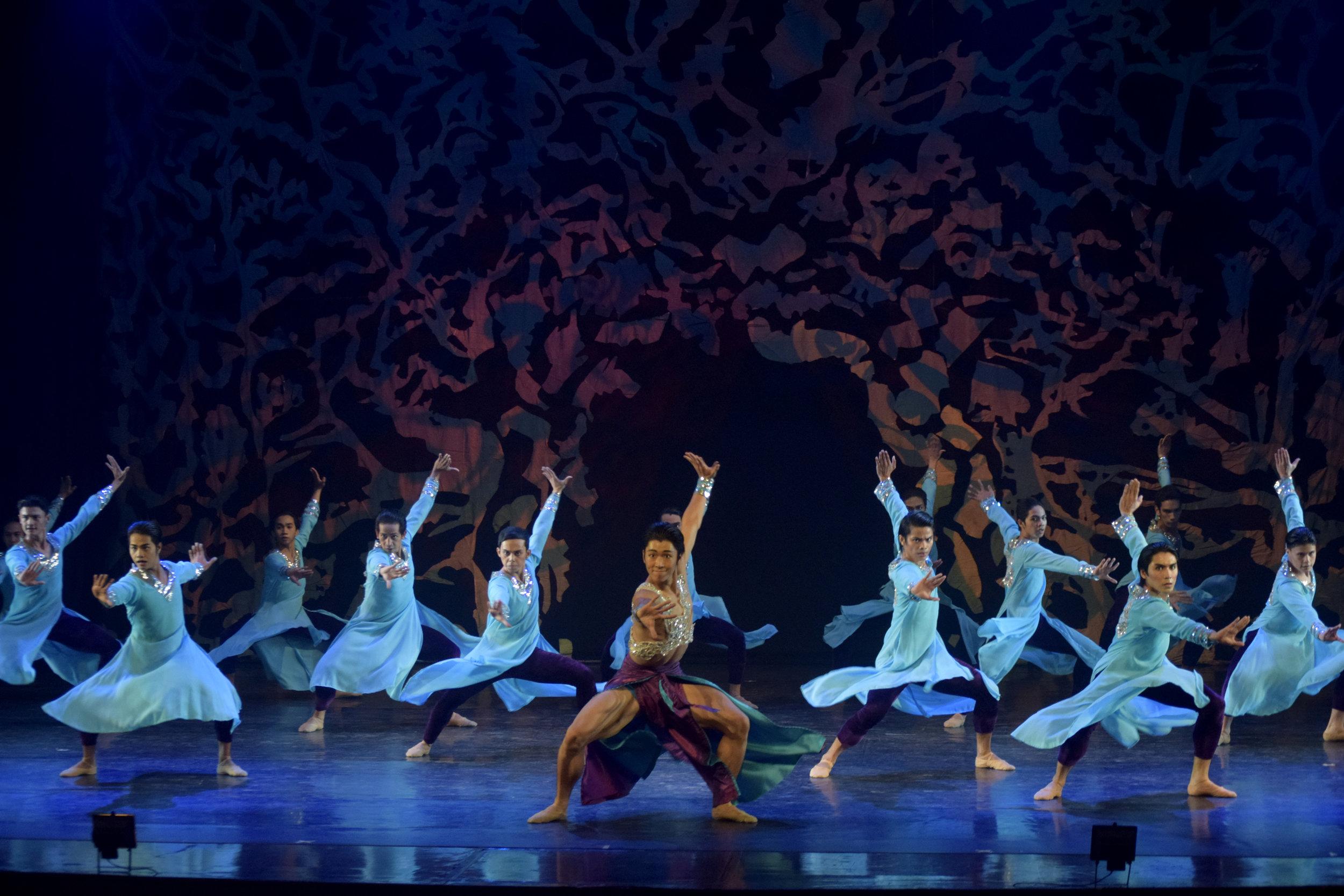 Hyuma Kiyosawa dances the lead in Bam Damian's all-male choreography  Aramica  which was featured in  Deux , Ballet Manila's 23rd season-ender. Photo by Erickson Dela Cruz