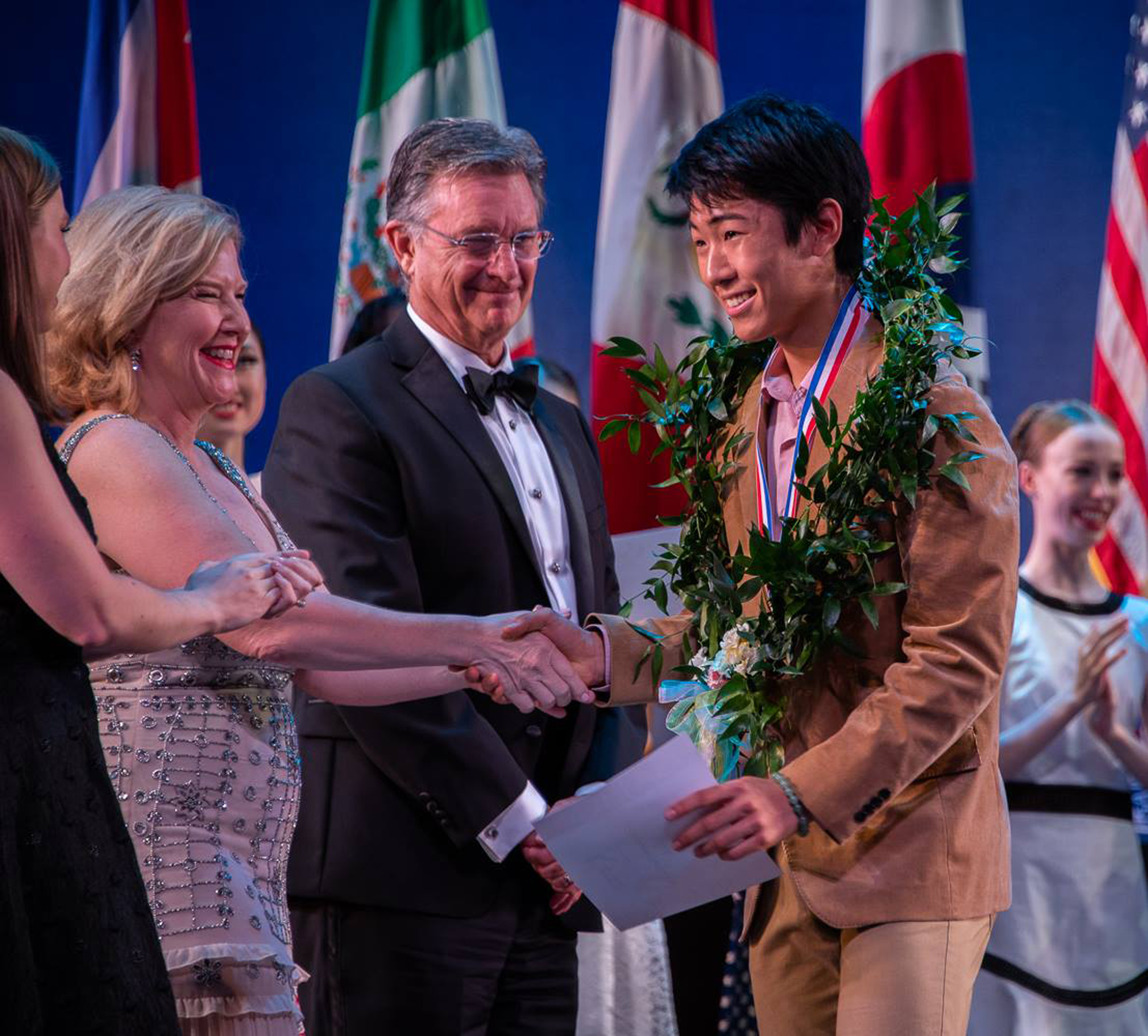 "Hyuma receives his silver medal and certificate in the junior male division of the USA International Ballet Competition, dubbed as the ""Olympics of Ballet."" Photo by Richard Finkelstein/ USA-IBC"