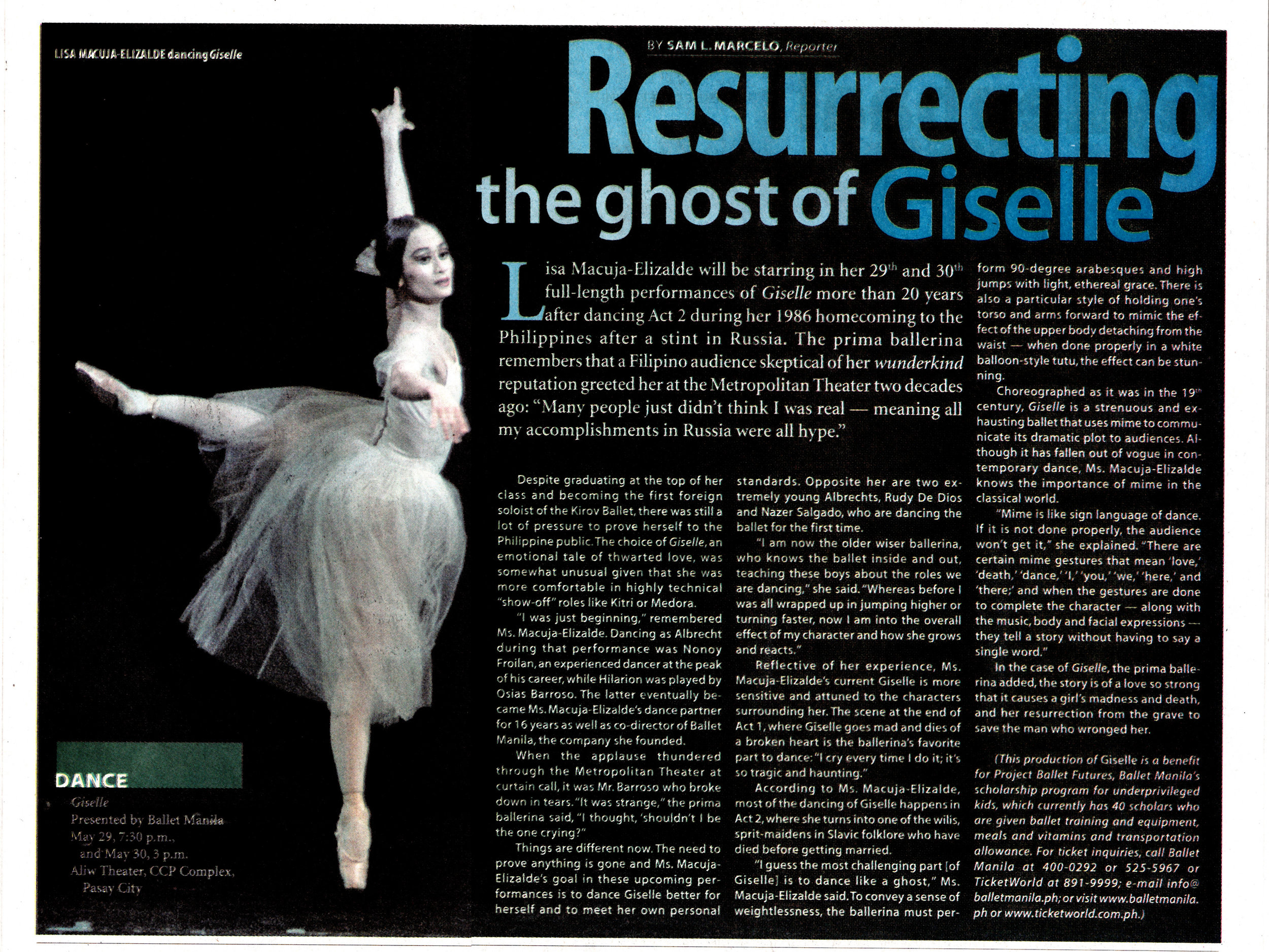 A story in BusinessWorld features an interview with Lisa Macuja-Elizalde as she takes on the title role in Giselle anew, this time for her 25th anniversary as a ballerina. From the Ballet Manila Archives collection