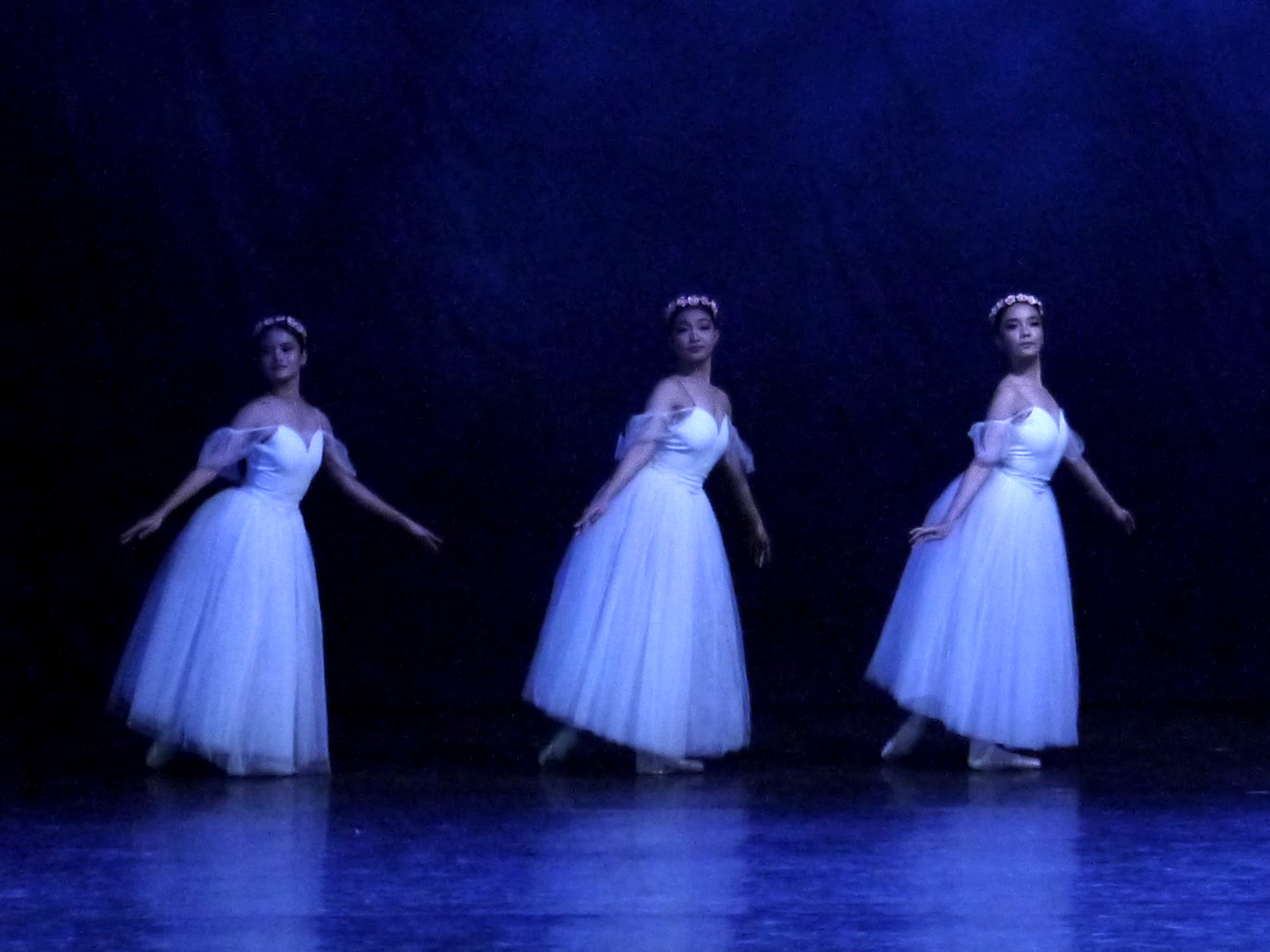 Monique (center) dances with Angelika Tagupa (left) and Marinette Franco as ethereal sylphs in Ballet Manila's  Chopiniana , restaged in  Deux , the company's 23rd season finale. Photo by Giselle P. Kasilag
