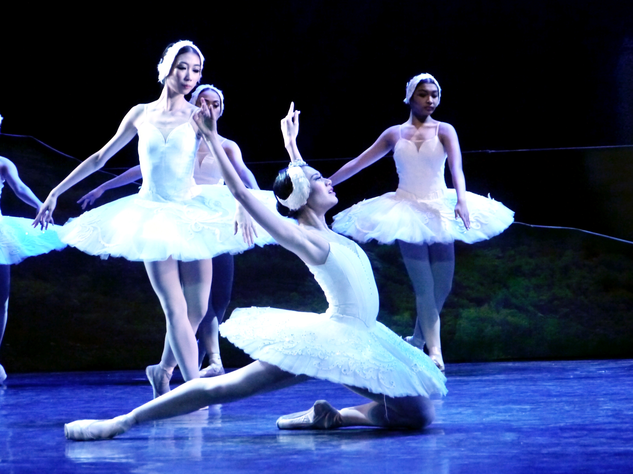 Monique (rightmost) was part of the corps in Ballet Manila's  Swan Lake  in 2017 featuring principal ballerina Abigail Oliveiro in the lead role. Photo by Giselle P. Kasilag