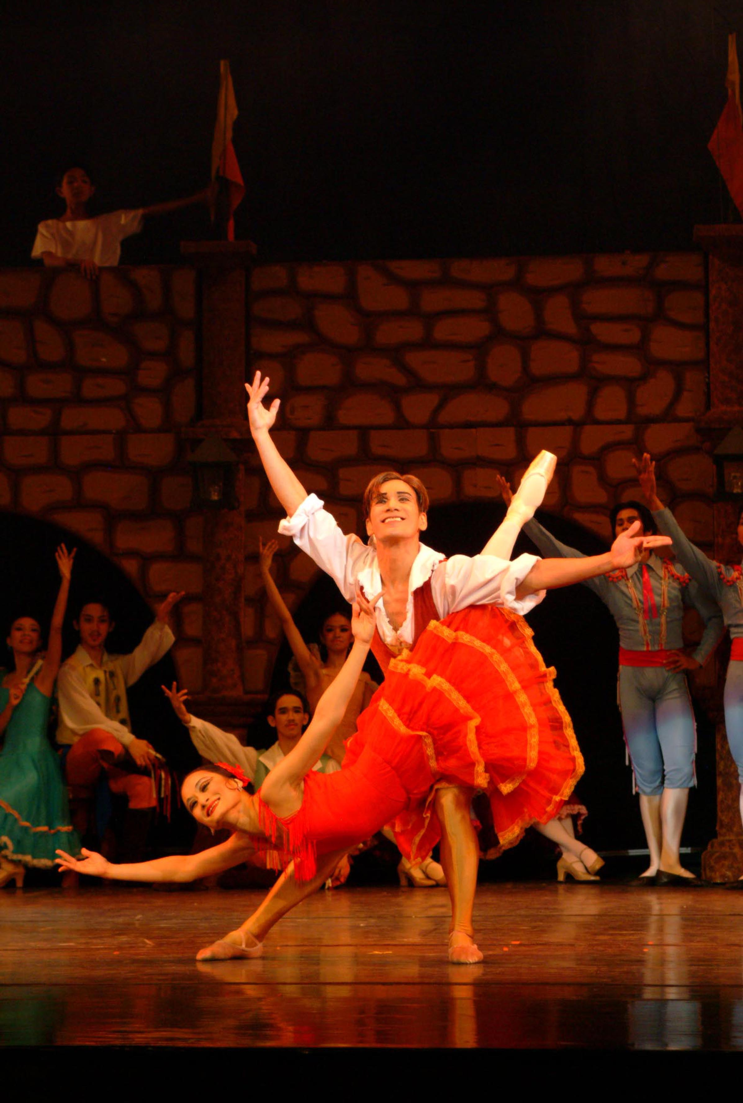 The fish dive is a complicated partnering step essential in classical ballet. In this photo from  Don Quixote  in 2004, Lisa Macuja-Elizalde and Osias Barroso execute the difficult step with ease, making the movement appear effortless with a smile. Photo by Ocs Alvarez