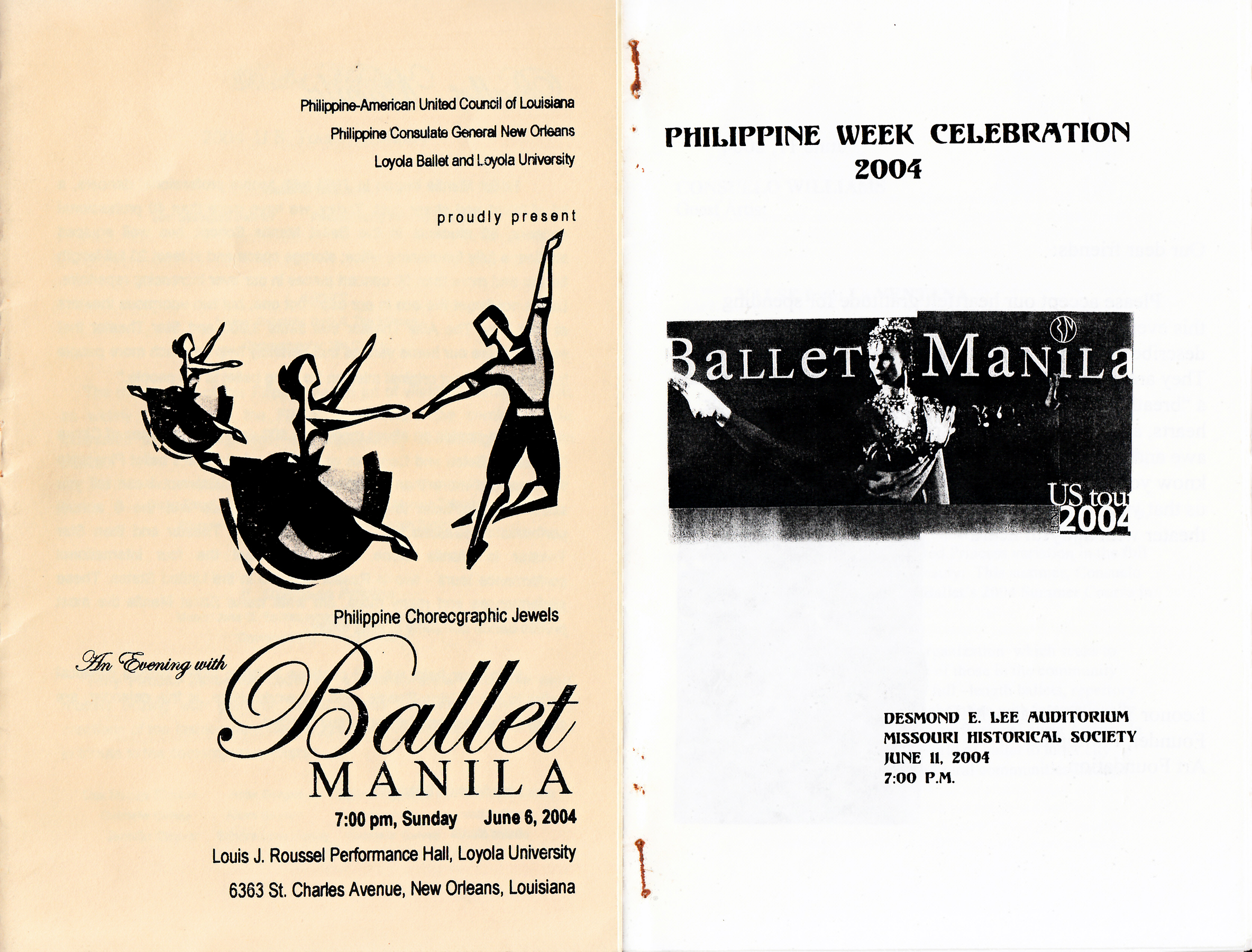 Covers of souvenir programs for the company's performances in New Orleans and St. Louis. From the Ballet Manila Archives collection