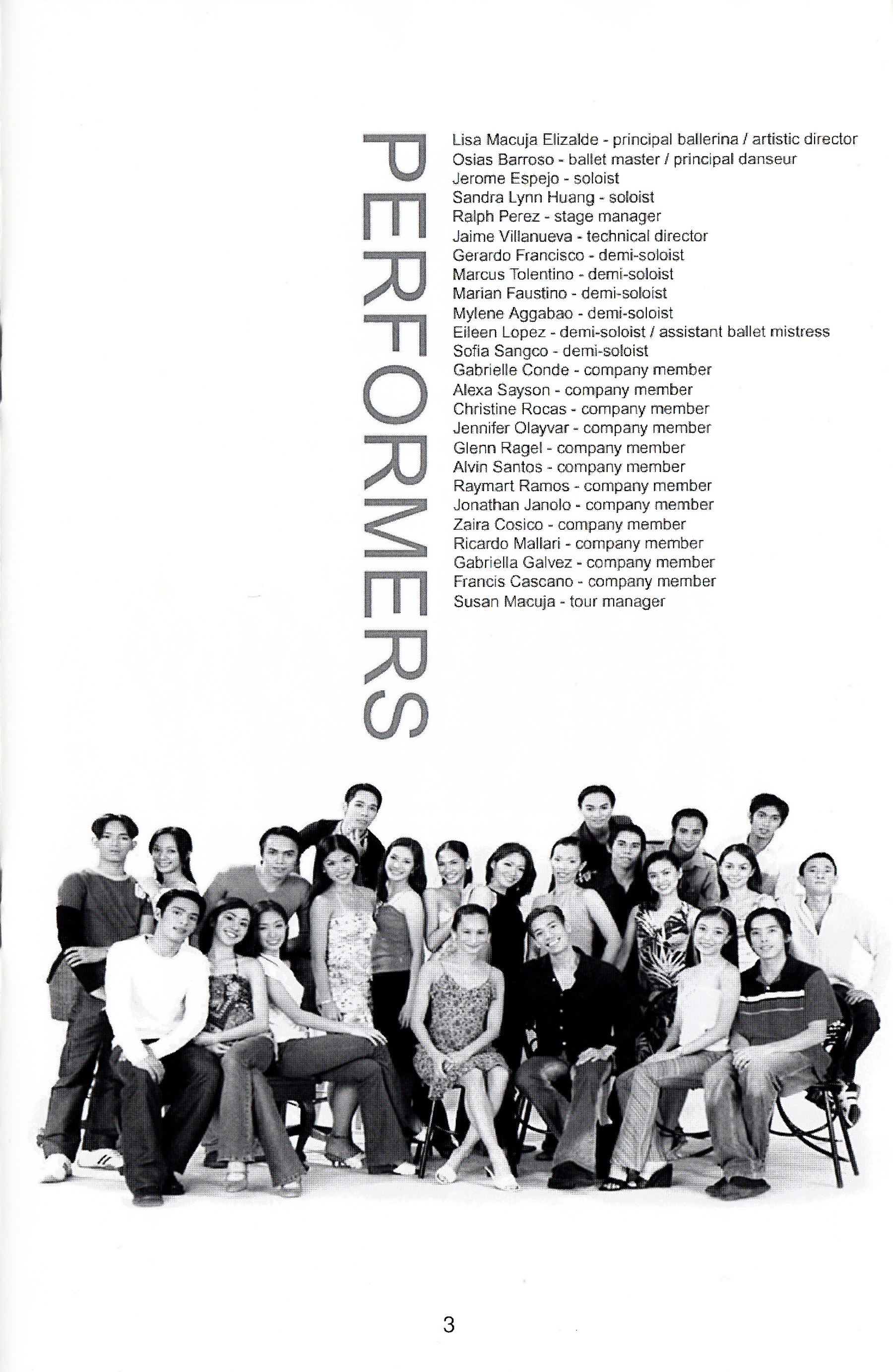 Ballet Manila's delegation for the 2004 US performance tour, as featured in the Pittsburgh souvenir program. From the Ballet Manila Archives collection