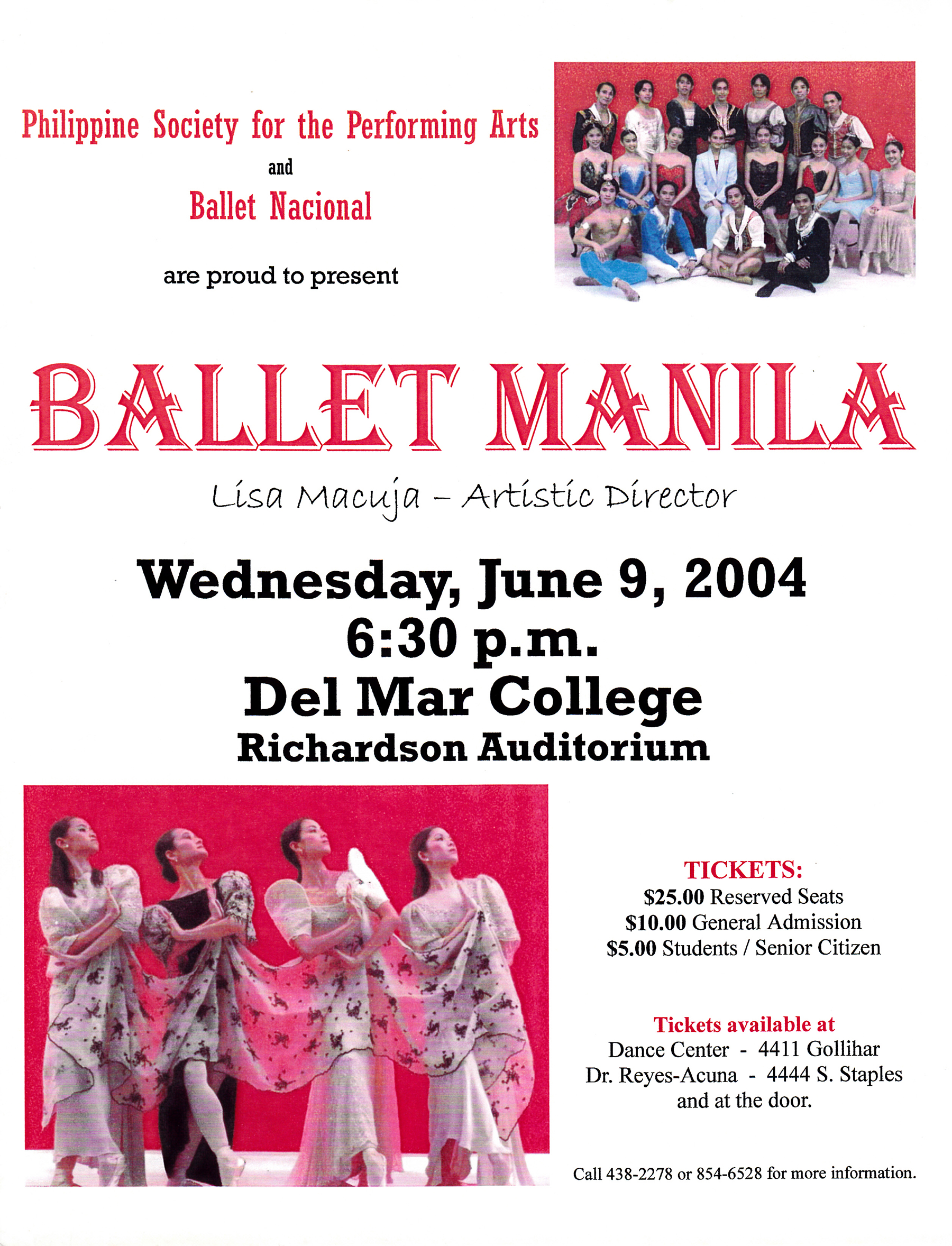 Leaflet announces details of the show in Corpus Christi. From the Ballet Manila Archives collection