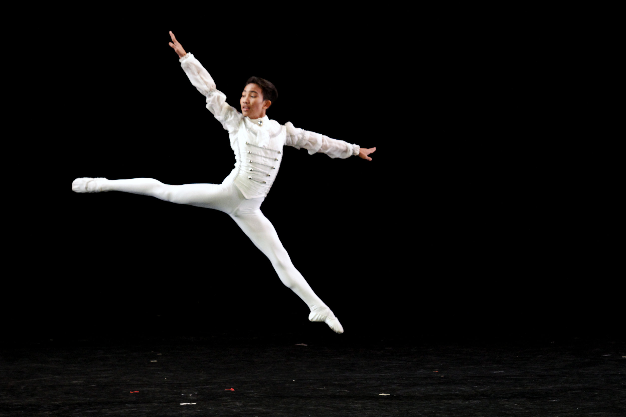 Like his idol in Ballet Manila, principal danseur Elpido Magat, JC – seen here during a performance for World Ballet Day in 2016 – can now execute movements honed through years of training. Photo by Kurt Alvarez