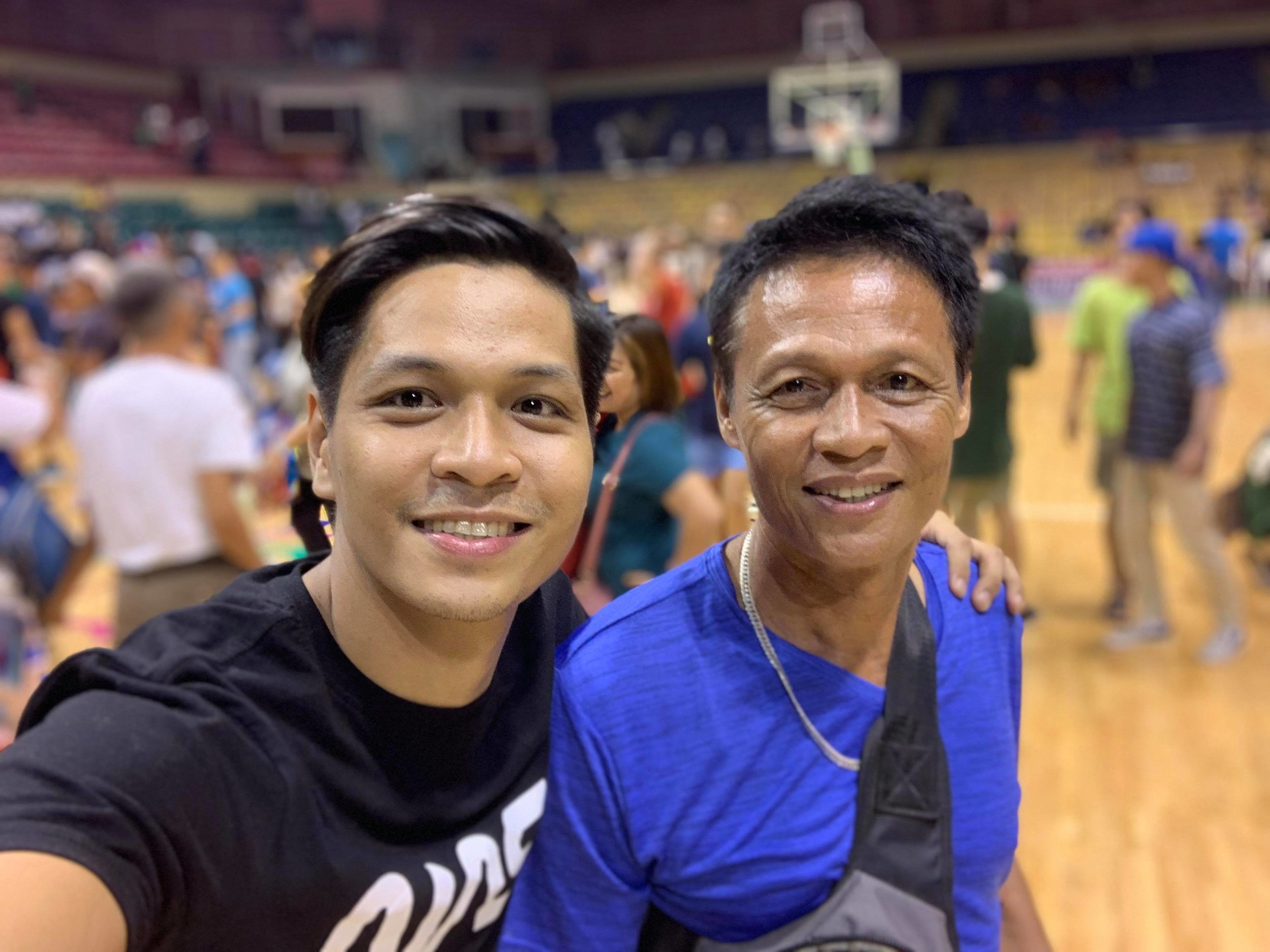 Mark Sumaylo takes his father, Antonio, to a basketball game which is a shared interest of theirs. The two would play basketball as Mark was growing up.