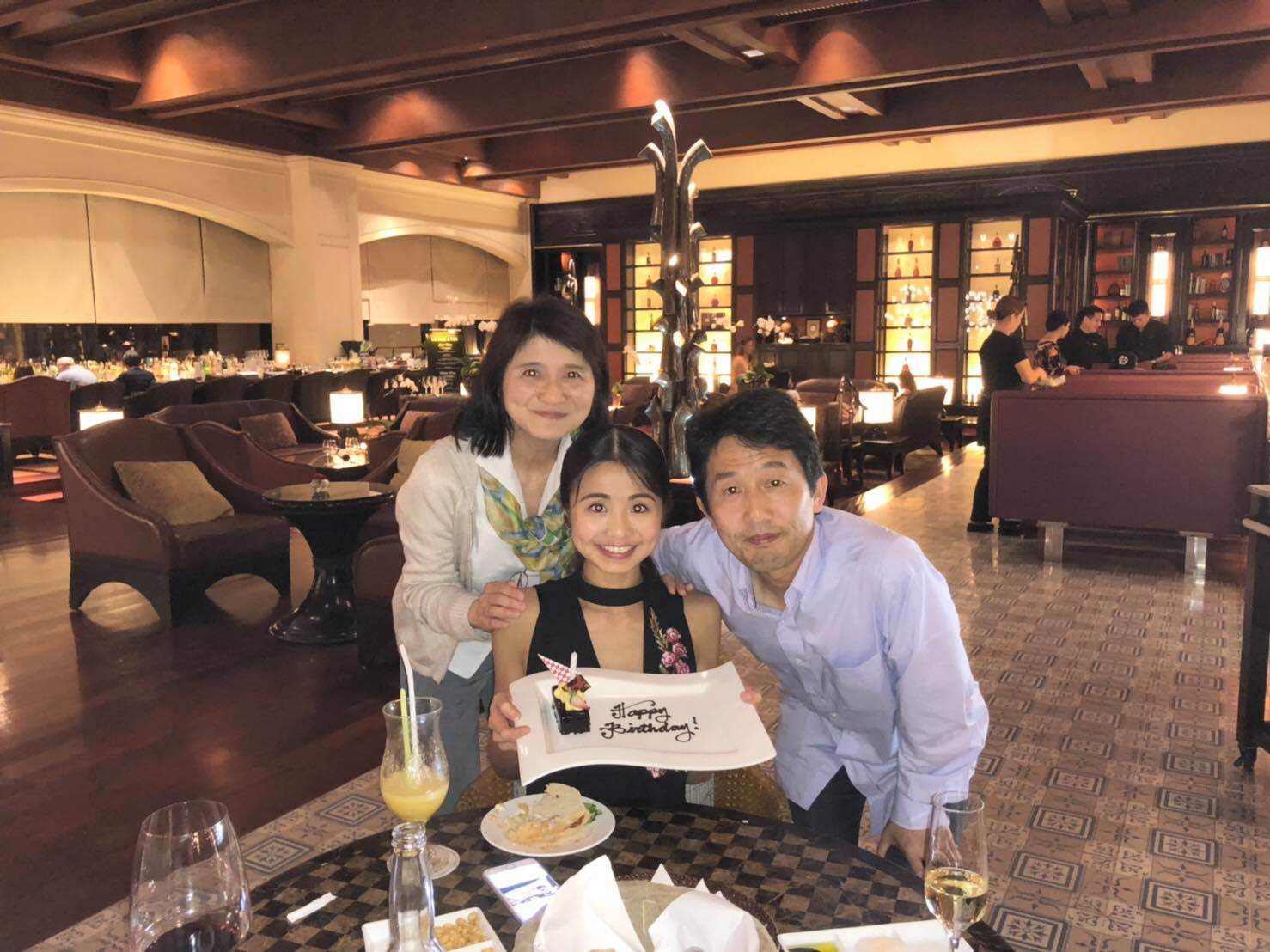 One of Sayaka's happiest moments was when her parents Masamichi and Nahoko came to Manila last October to watch her in  Le Corsaire  and to celebrate her birthday.