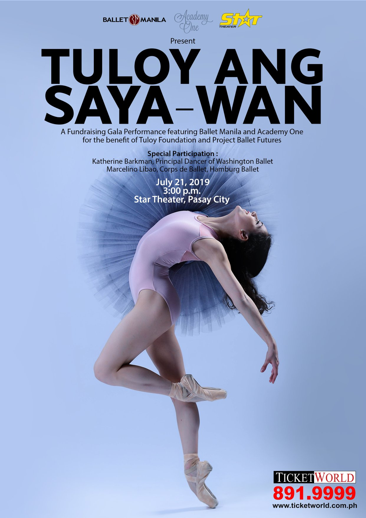 Katherine appears in the  Tuloy ang Saya-wan  poster, in a photograph taken by Ballet Manila principal dancer Mark Sumaylo just before she left Manila in October 2018.