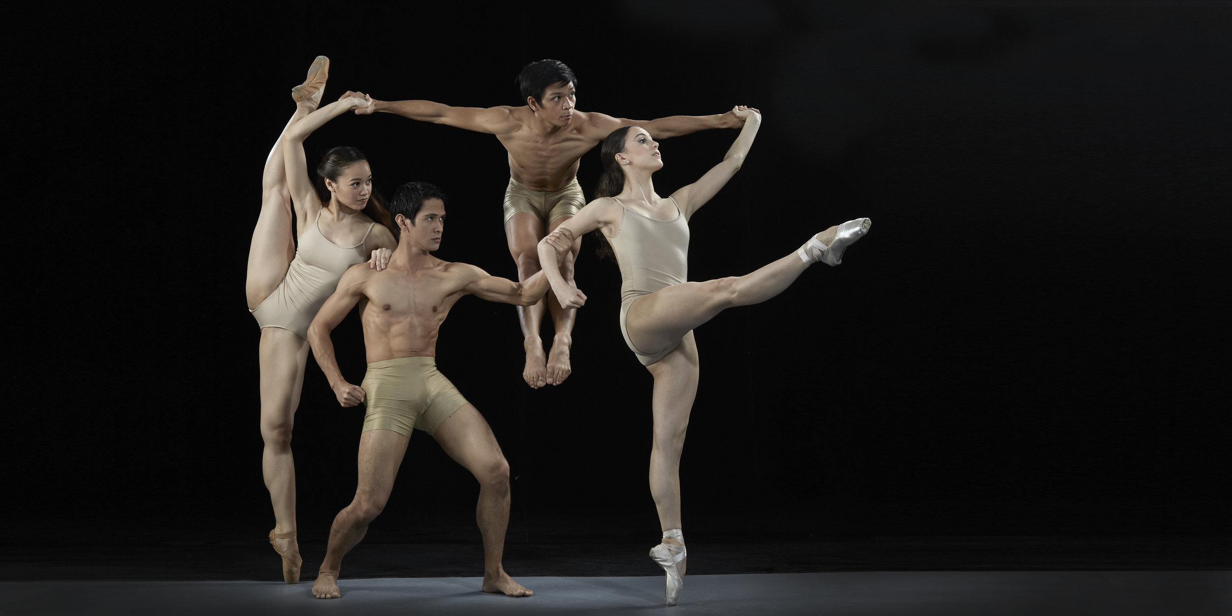 Katherine (rightmost) joins then fellow Ballet Manila principal dancers (from left) Dawna Mangahas, Rudy De Dios and Gerardo Francisco in a photo shoot with master photographer G-nie Arambulo in 2016.