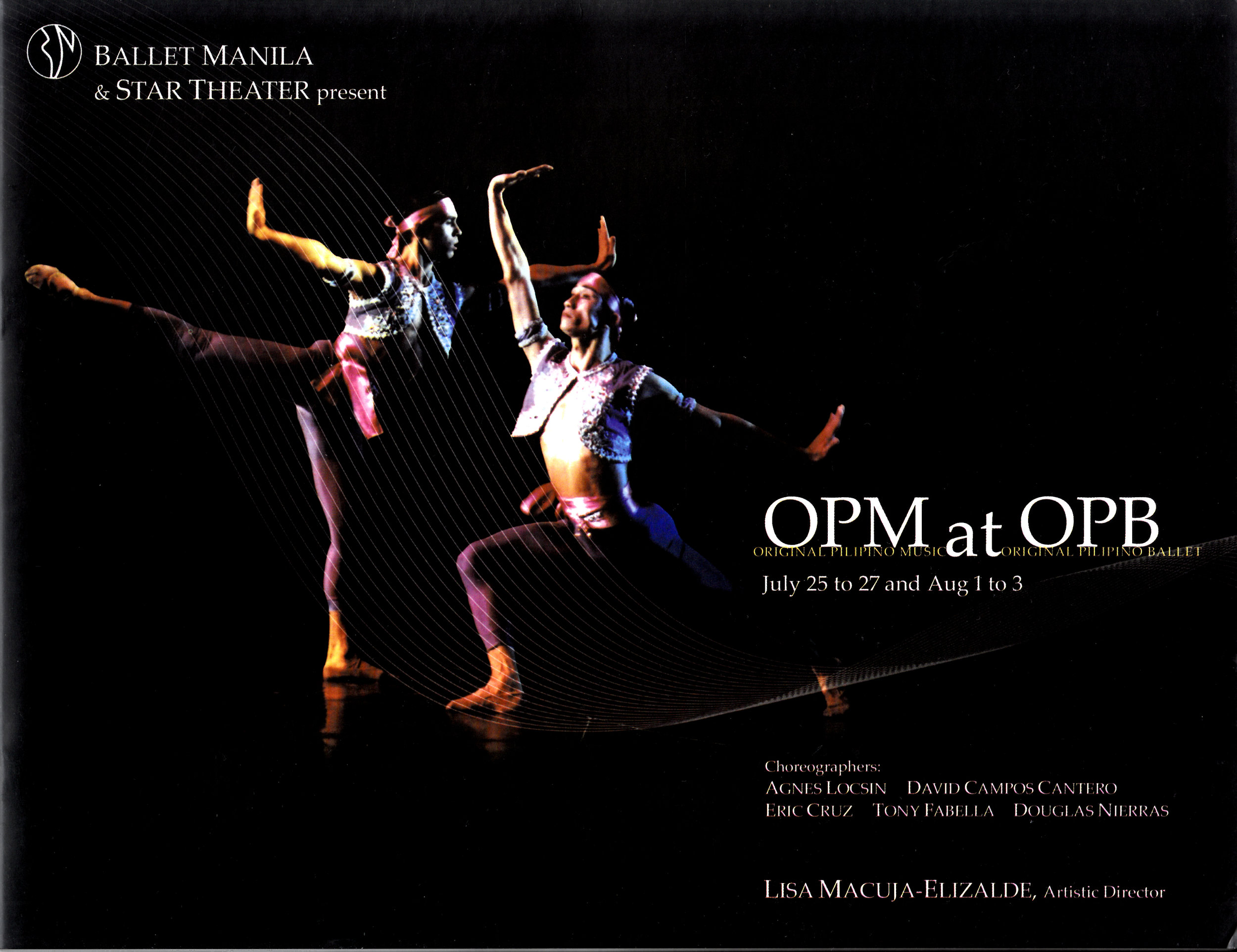 Souvenir program of  OPM at OPB , a celebration of Original Pilipino Music and Original Pilipino Ballet in 2003. From the Ballet Manila Archives collection