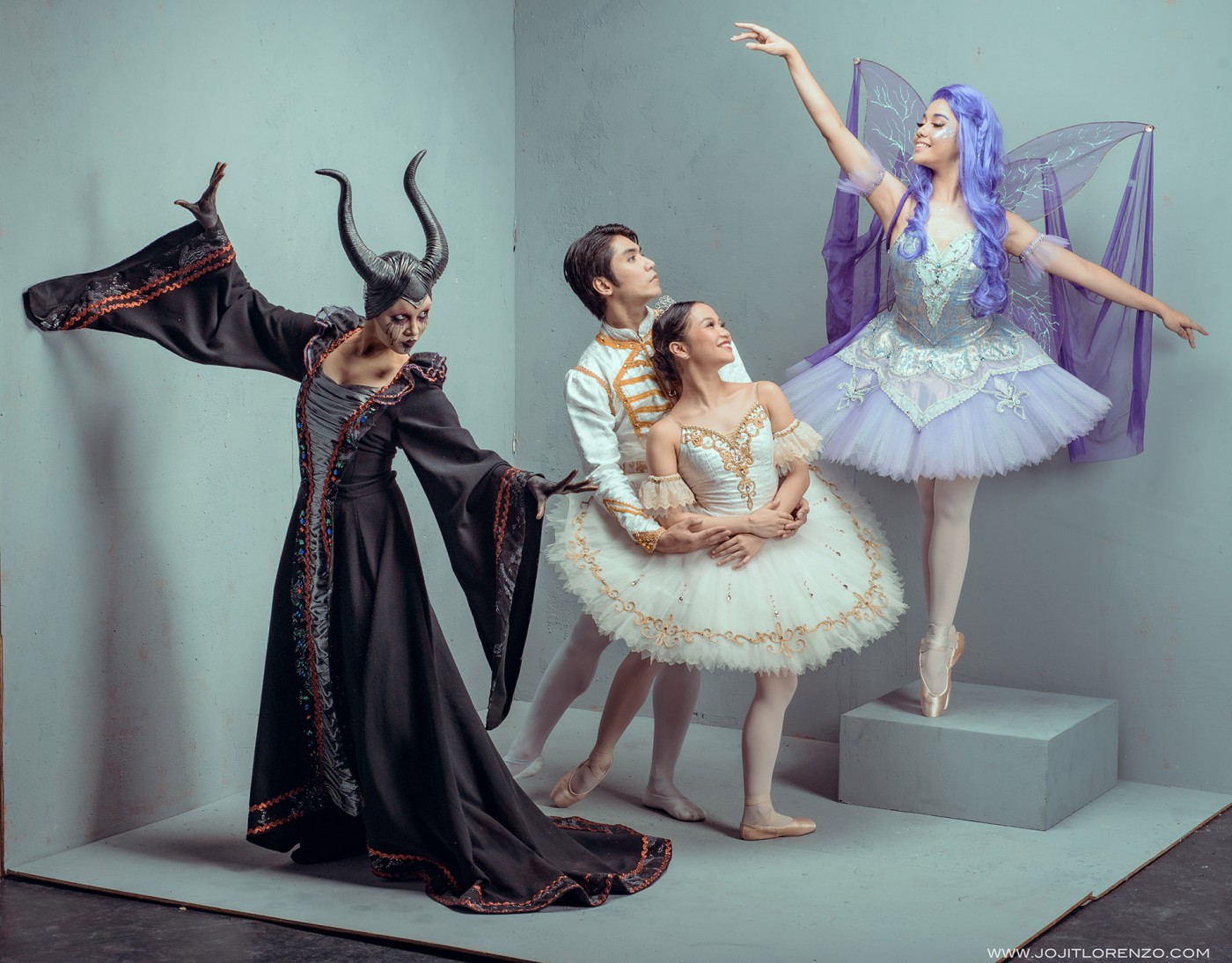 Principal dancers Romeo Peralta (Prince Desiré) and Jasmine Pia Dames (Princess Aurora) are joined by company artists Emma Harris (Maleficent) and Marinette Franco (Lilac Fairy) in Lisa Macuja-Elizalde's  Sleeping Beauty,  Ballet Manila's Christmas presentation.