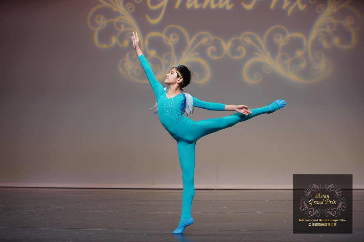Juan Angelo De Leon performs the Blue Bird Variation for the Pre-Competitive B division of the Asian Grand Prix Competition in Hong Kong. Photo courtesy of Asian Grand Prix
