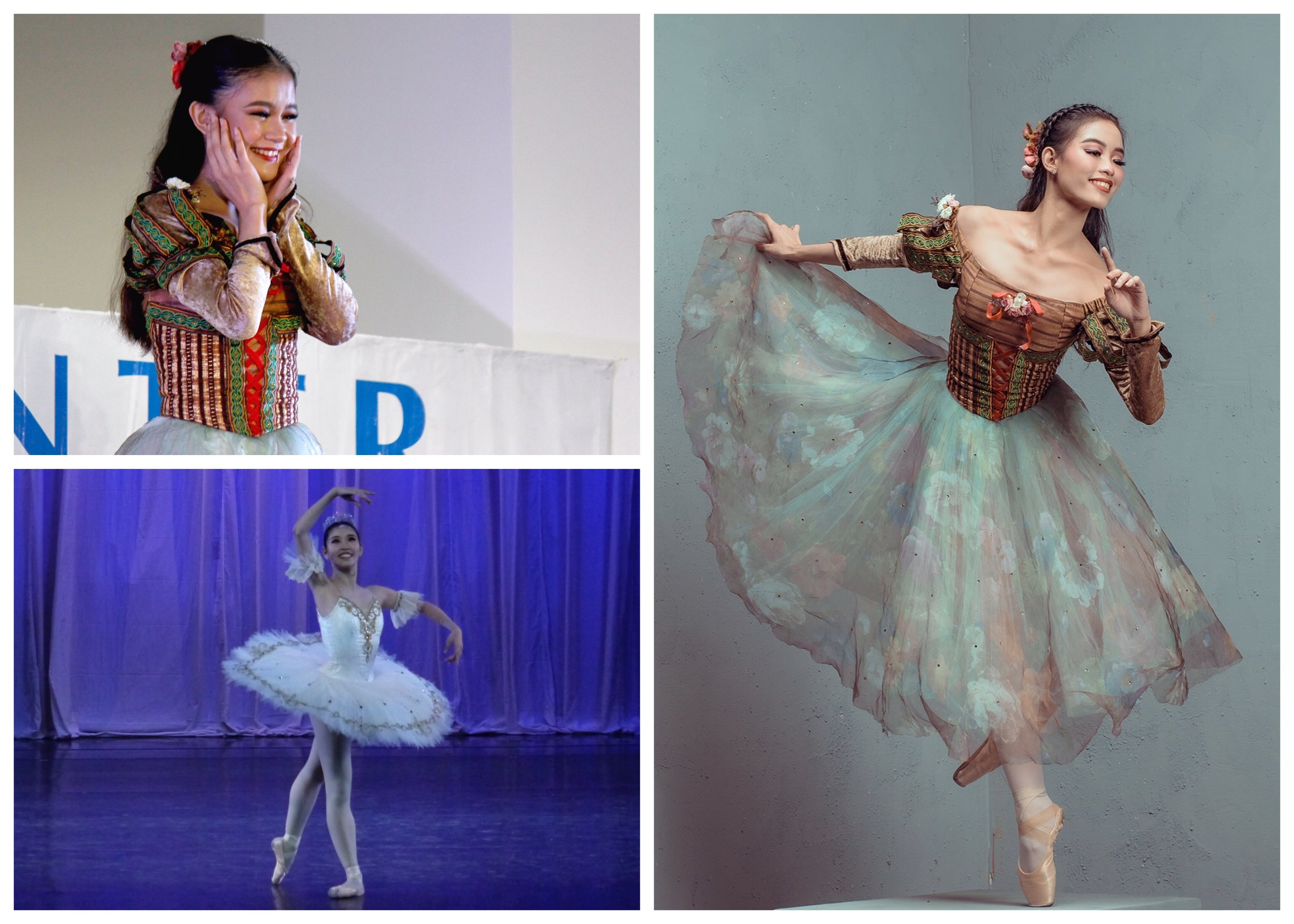 The three Snow Whites: (top left) company artist Shaira Comeros, (bottom left) company artist Akari Ida; (right) principal dancer Joan Emery Sia. Photos by Jimmy Villanueva, Erickson Dela Cruz, and Jojit Lorenzo